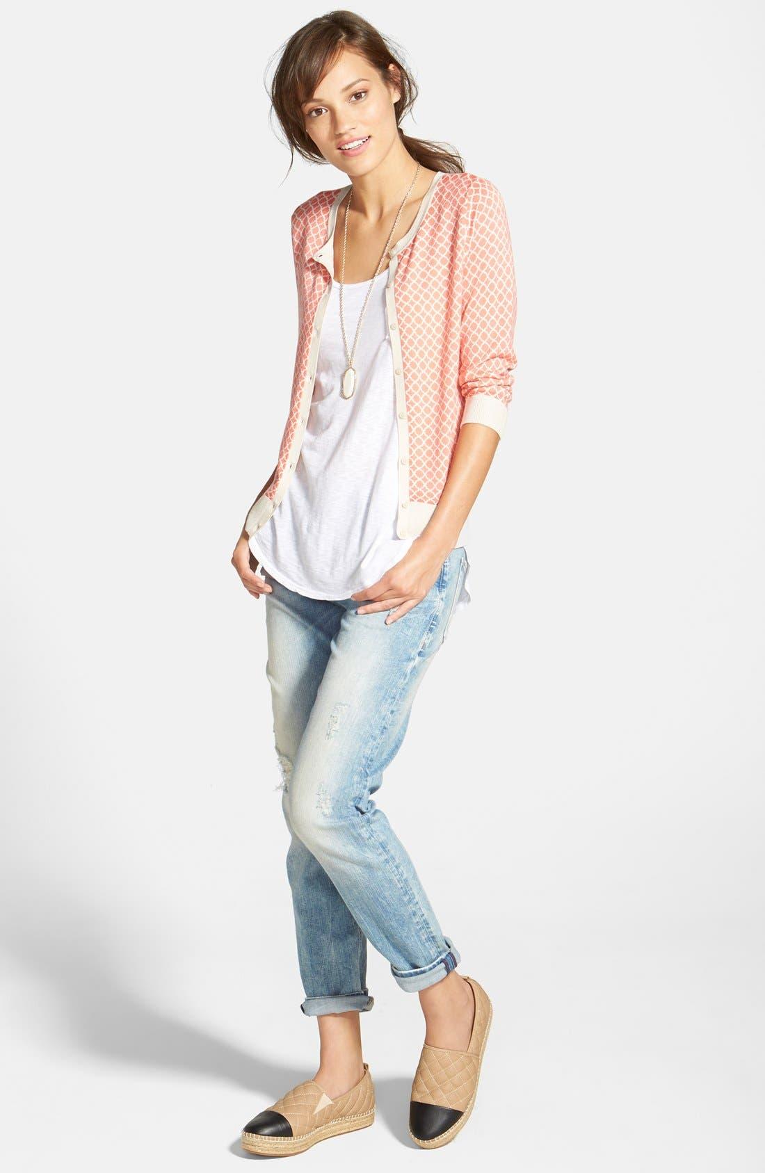 Halogen® Cardigan, LAmade Boyfriend Tank & Mavi Jeans Distressed Slim Jeans