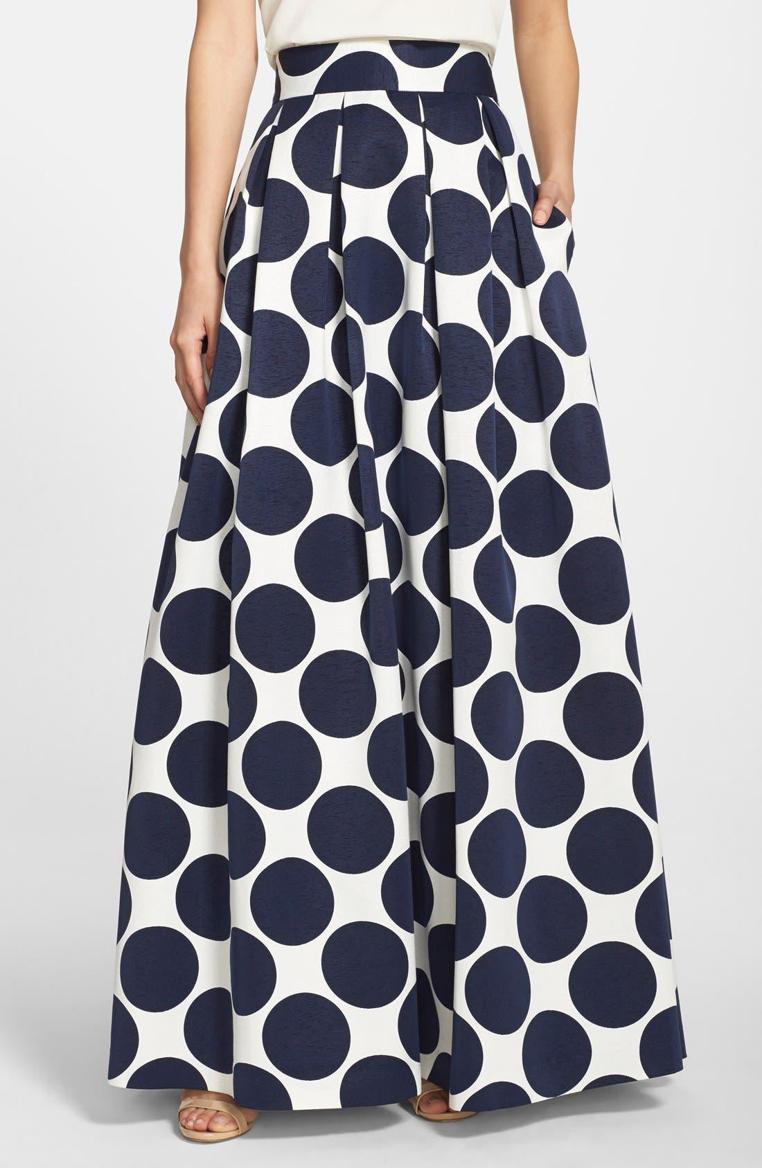 Pleated Dot Print Ball Skirt,                             Main thumbnail 1, color,                             Navy/ Ivory
