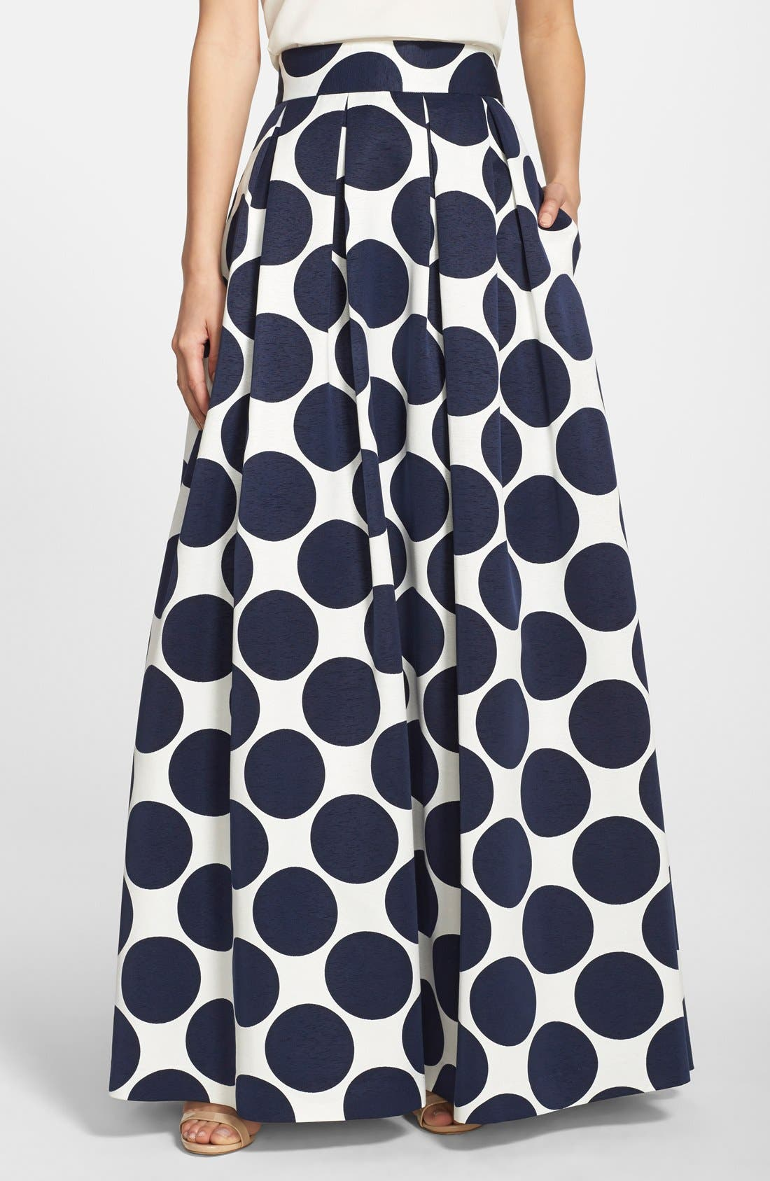Pleated Dot Print Ball Skirt,                         Main,                         color, Navy/ Ivory