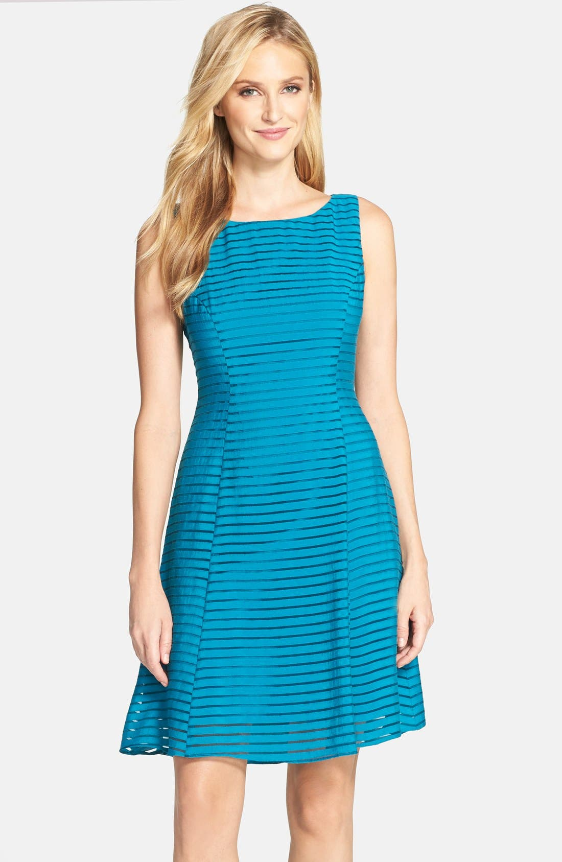 Alternate Image 1 Selected - Adrianna Papell Ribbon Stripe Fit & Flare Dress