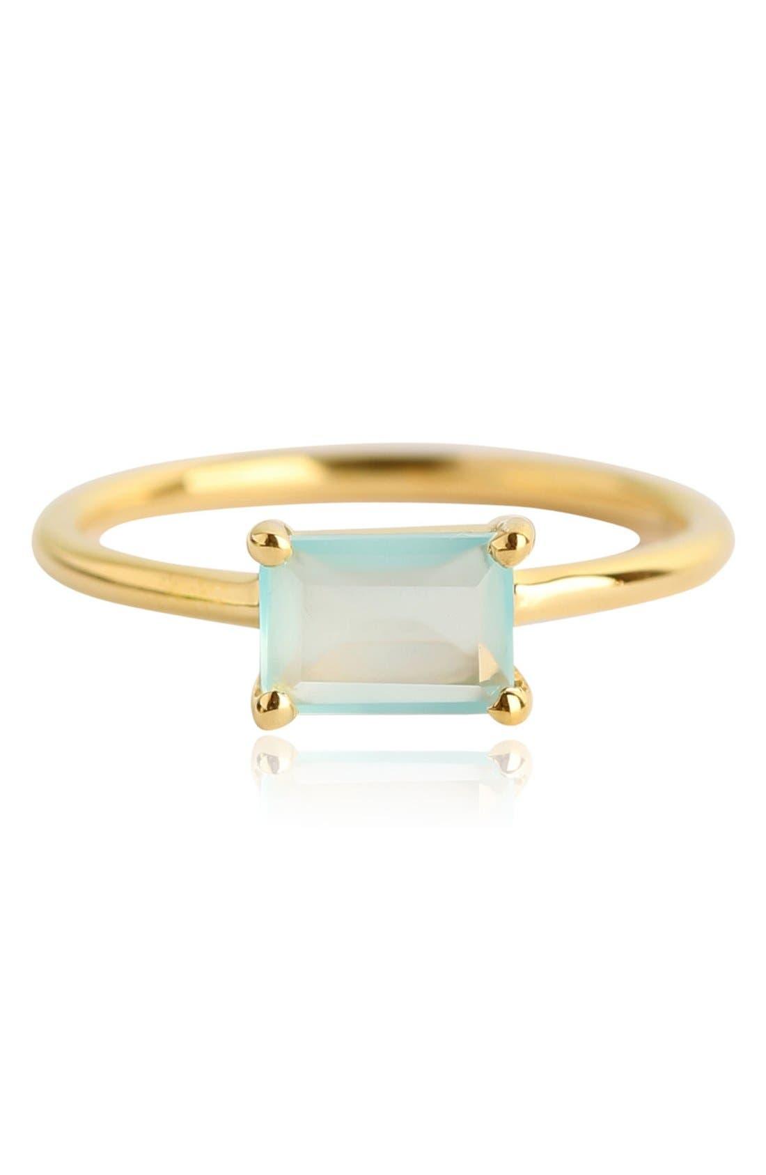 Baguette Stone Ring,                         Main,                         color, Gold/ Aqua Chalcedony