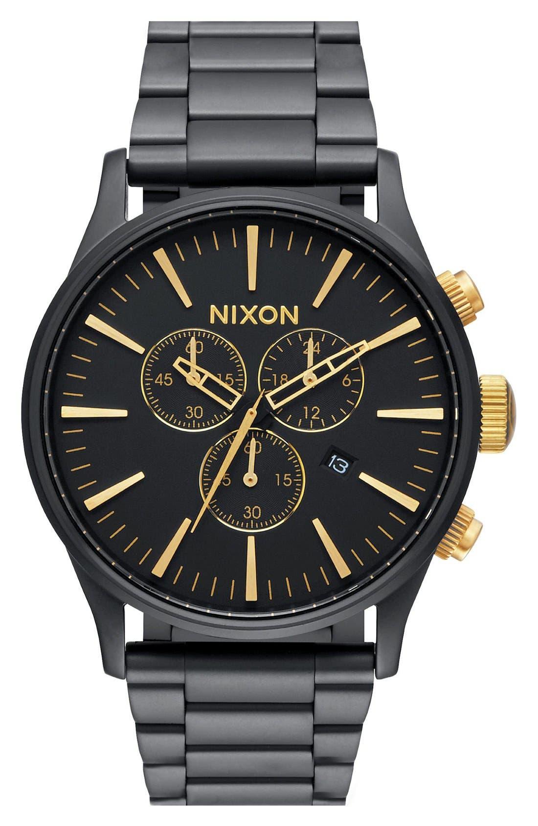 'The Sentry' Chronograph Bracelet Watch, 42mm,                         Main,                         color, Black Matte/ Gold
