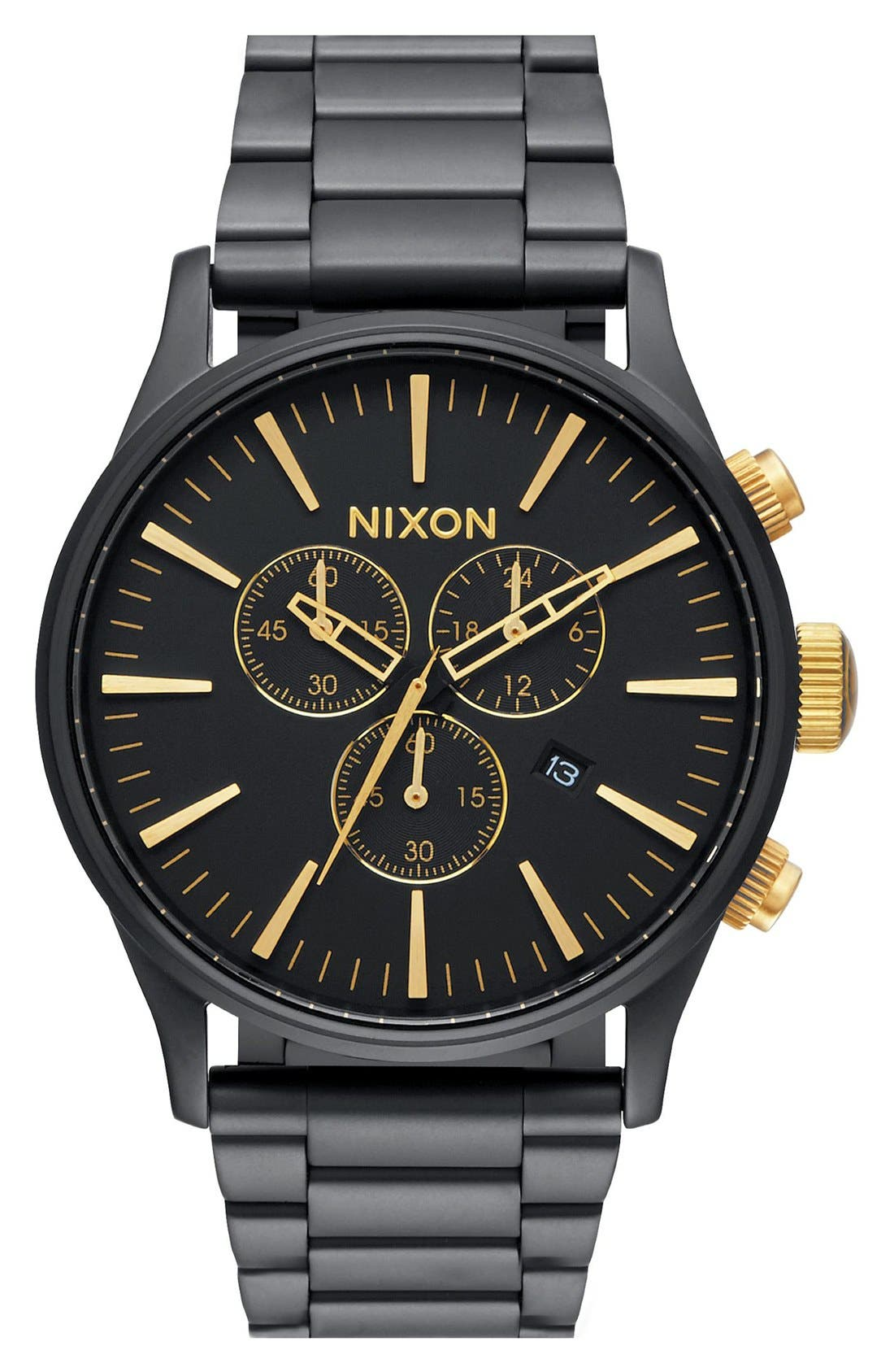 'The Sentry' Chronograph Bracelet Watch, 42mm,                         Main,                         color, Black Matte/ Gold