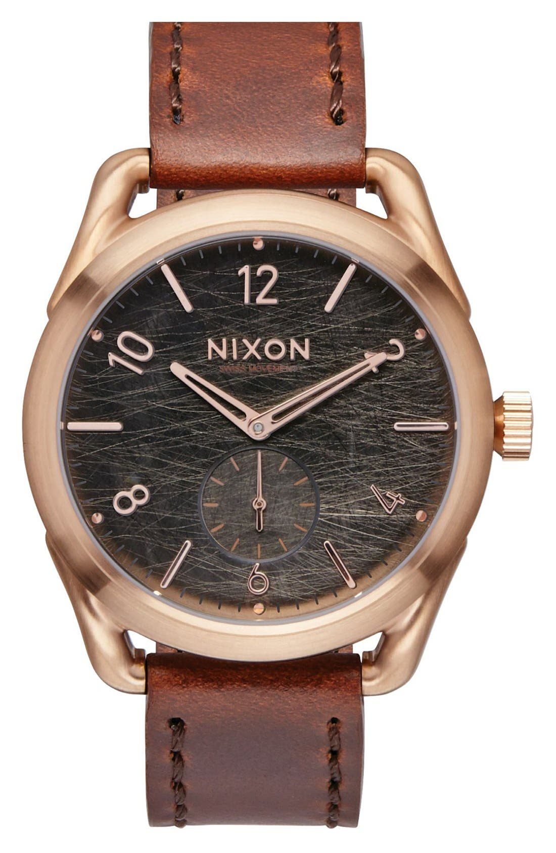 NIXON The C39 Leather Strap Watch, 39mm