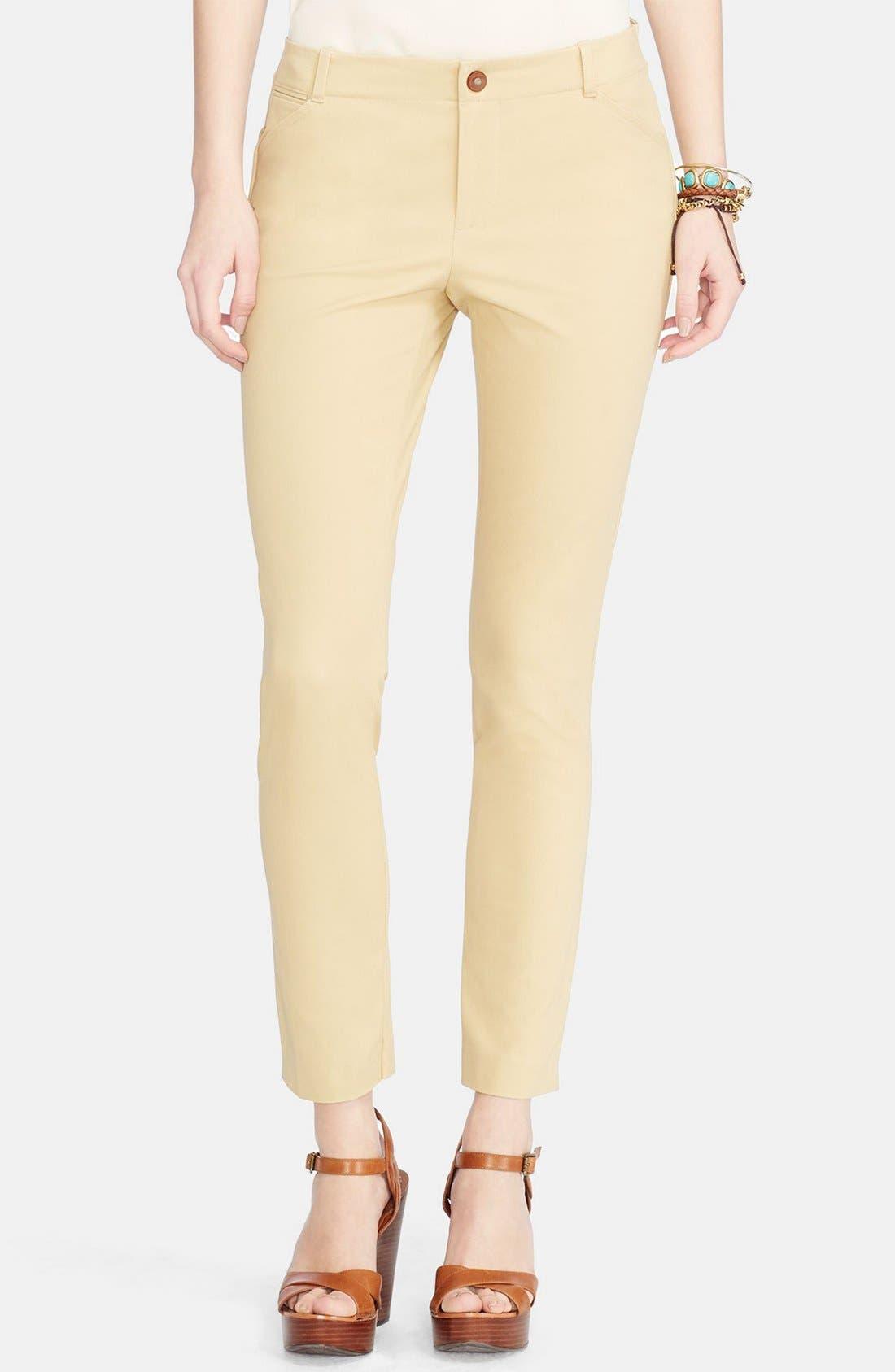 Alternate Image 1 Selected - Lauren Ralph Lauren Stretch Cotton Skinny Pants (Regular & Petite)