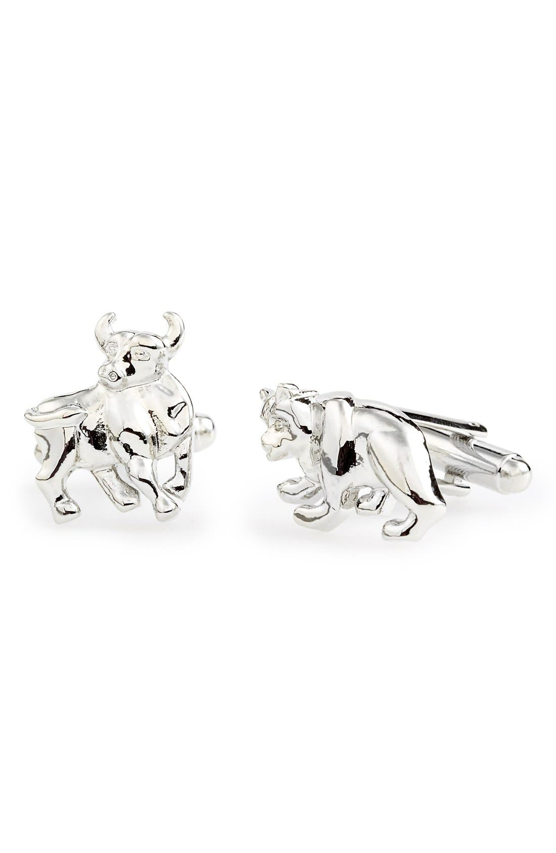 'Bull And Bear' Cuff Links,                         Main,                         color, Silver