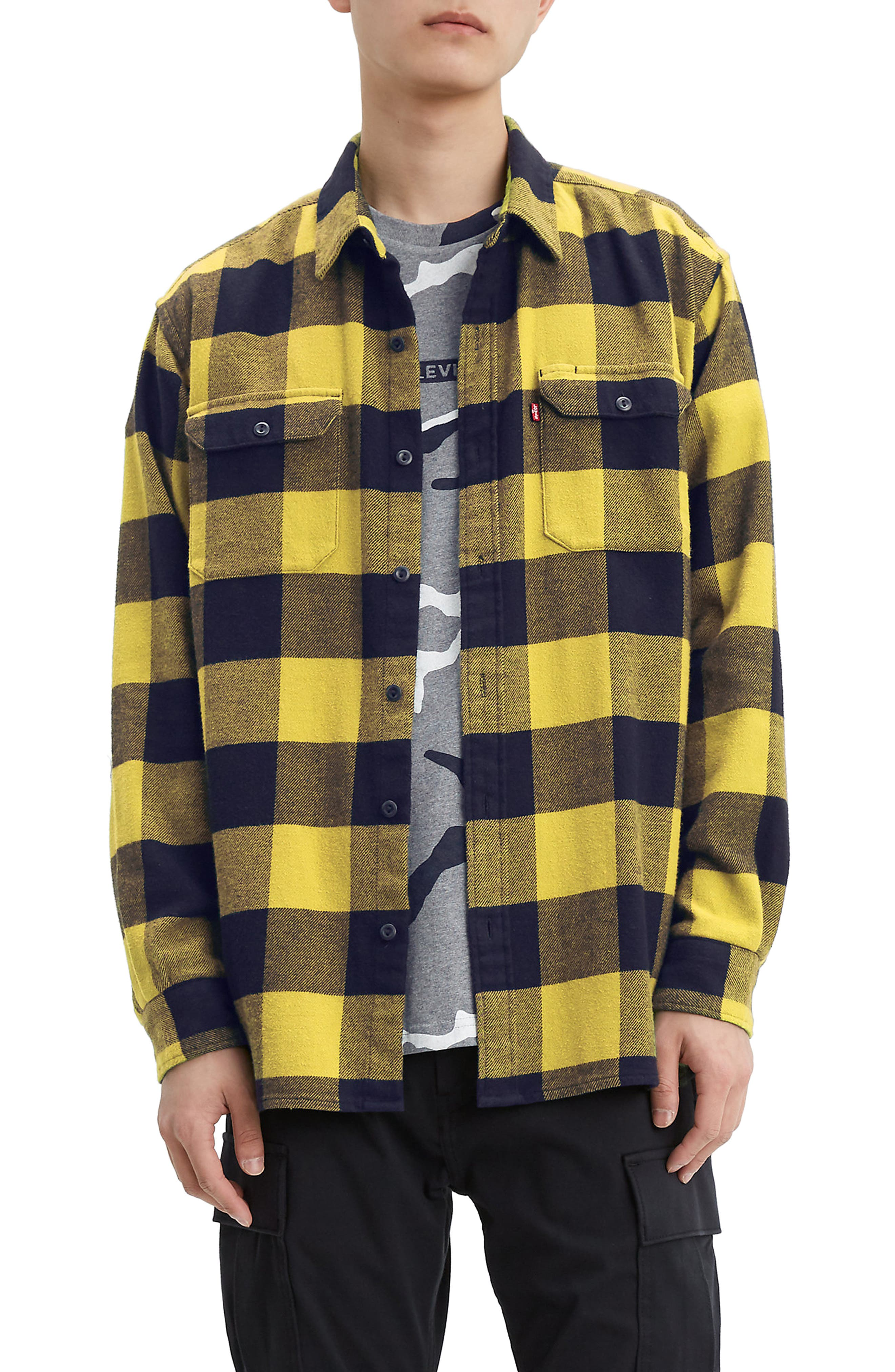 Levi/'s Mens Limited Collection Colorblock Flannel Work Button Down Shirt M