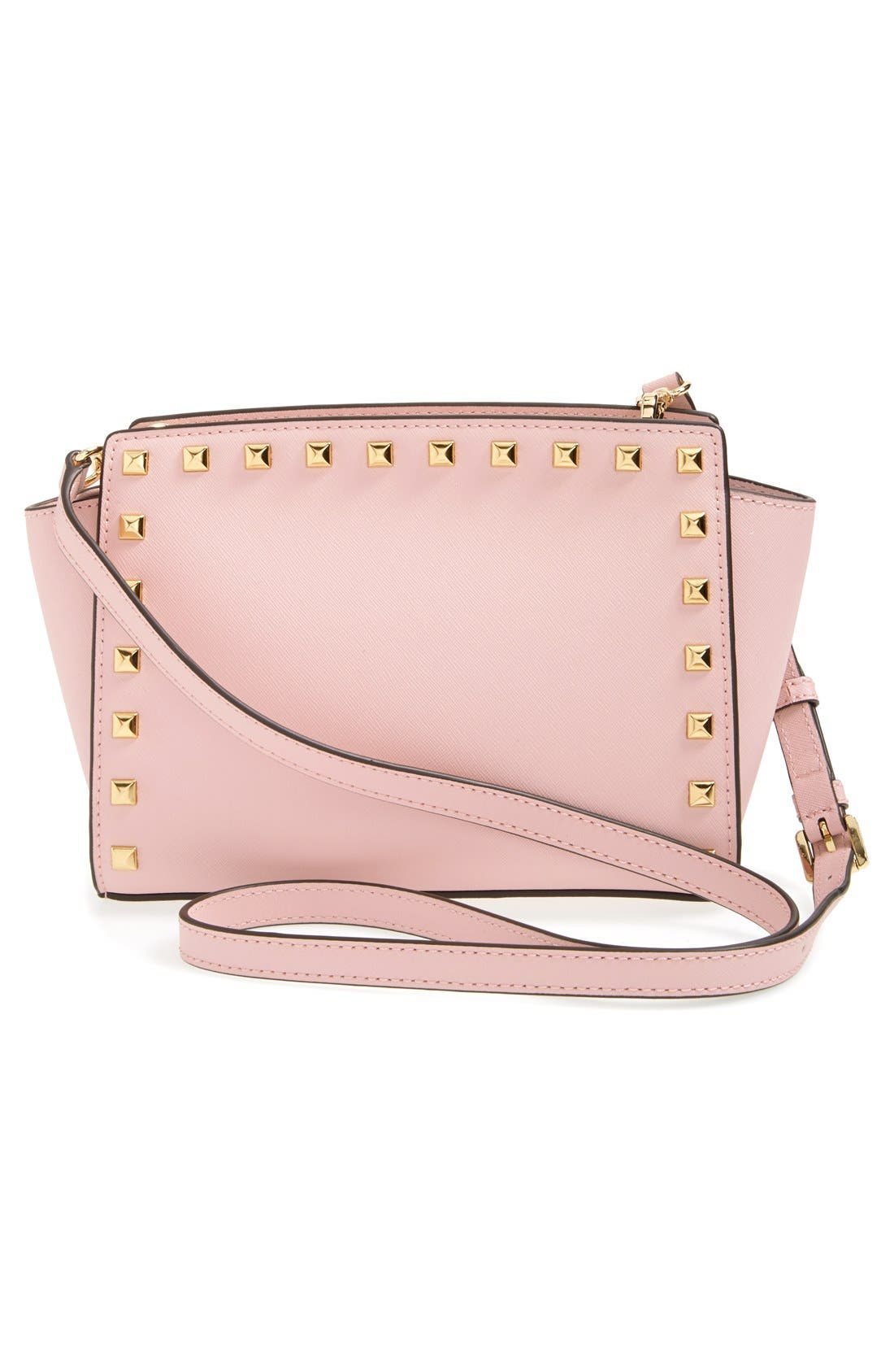 'Selma - Stud' Saffiano Leather Crossbody Bag,                             Alternate thumbnail 3, color,                             Blossom