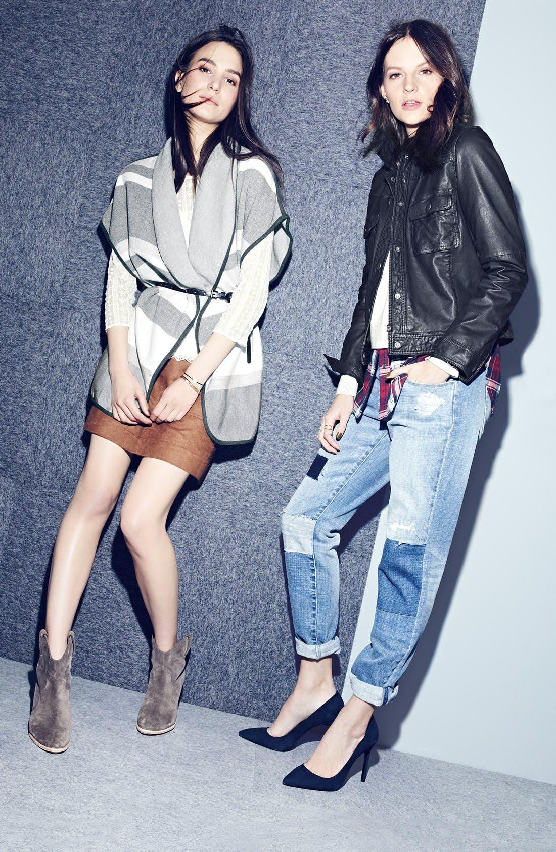 Faux Suede A-Line Miniskirt,                             Alternate thumbnail 5, color,
