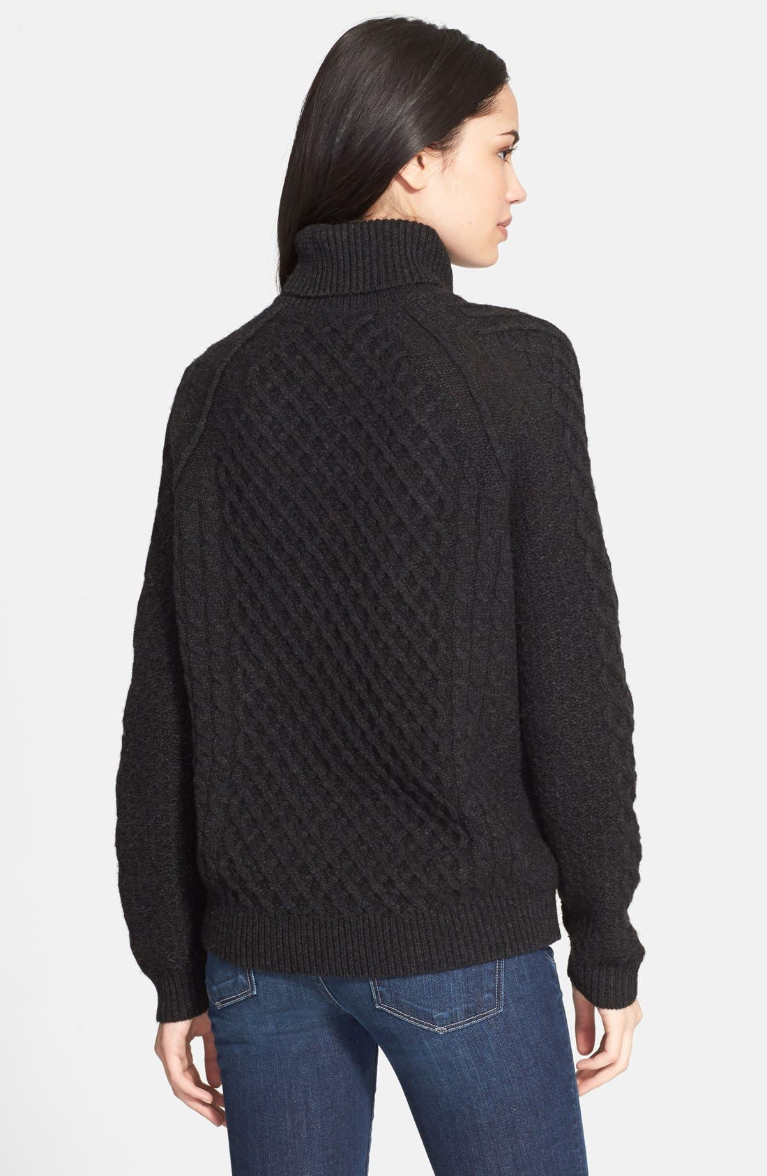 Textured Cable Knit Sweater,                             Alternate thumbnail 2, color,                             Charcoal
