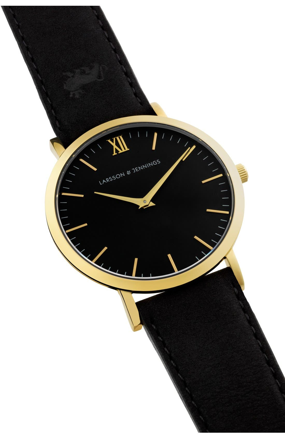 'Lugano' Leather Strap Watch, 40mm,                             Alternate thumbnail 4, color,                             Black/ Gold