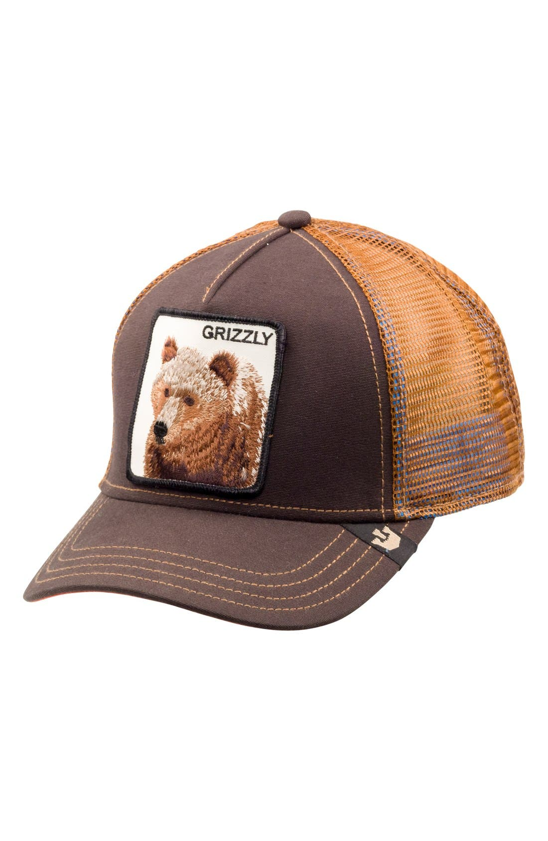 'Animal Farm - Grizz' Mesh Trucker Hat,                         Main,                         color, Brown