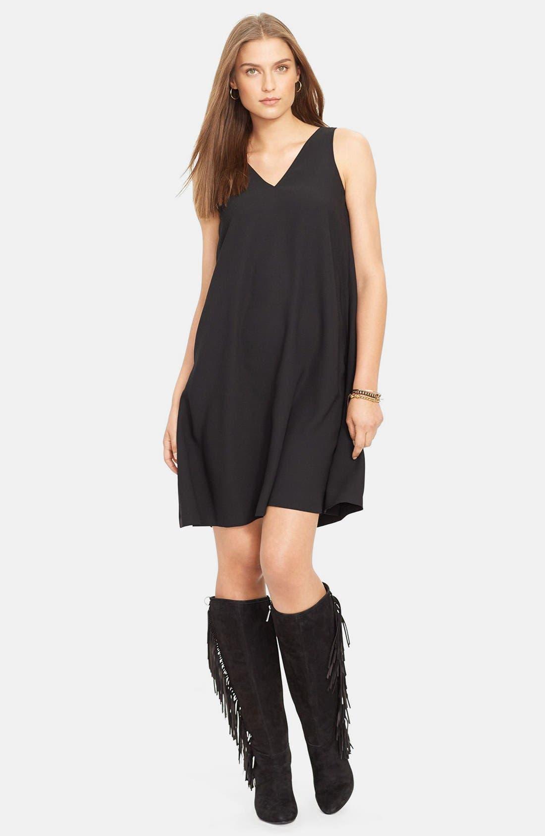 Alternate Image 1 Selected - Lauren Ralph Lauren Sleeveless V-Neck Shift Dress (Regular & Petite)