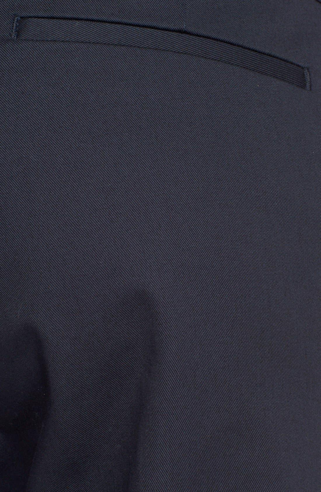 Pleated Cotton Pants,                             Alternate thumbnail 4, color,                             Dark Navy
