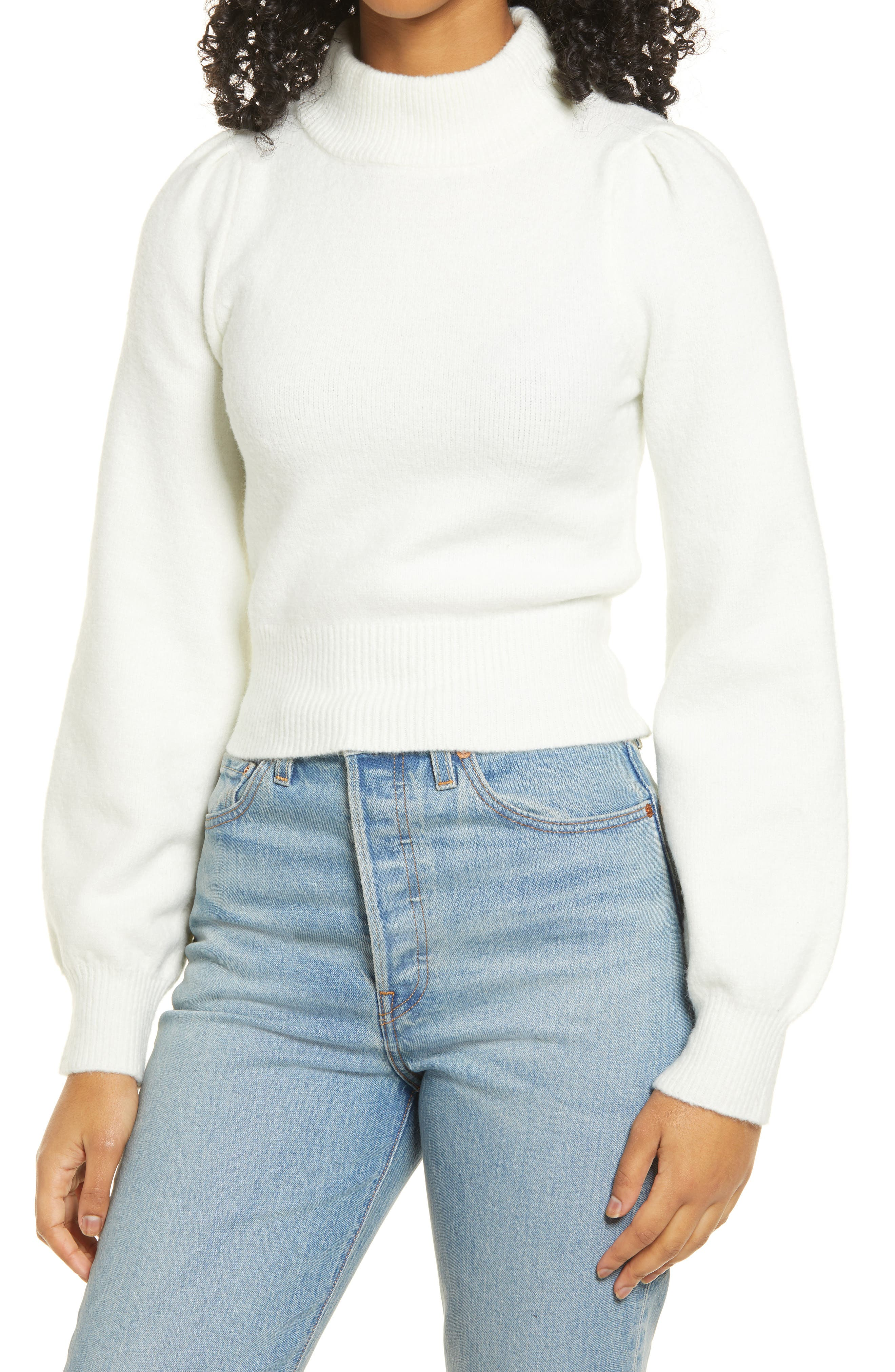 NWT Womens ONE A Ivory Key Hole Neck High Low Two Tone Sweater M