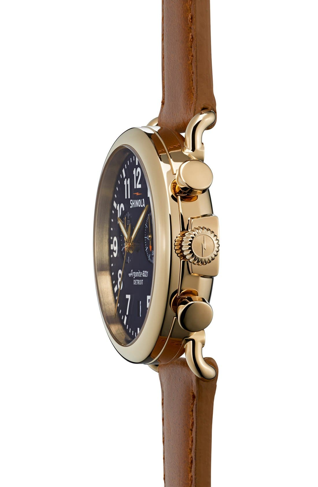 'The Runwell Chrono' Leather Strap Watch, 41mm,                             Alternate thumbnail 3, color,                             Tan/ Midnight Blue