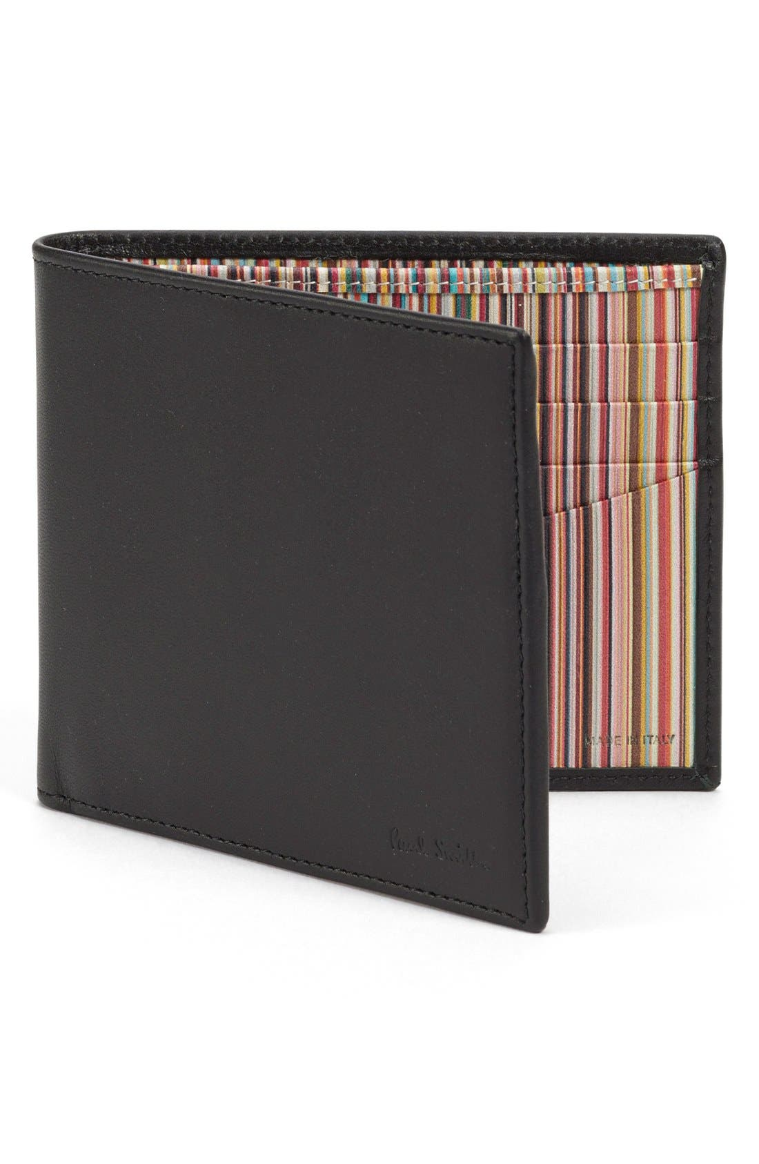 Interior Stripe Leather Billfold,                             Main thumbnail 1, color,                             Black