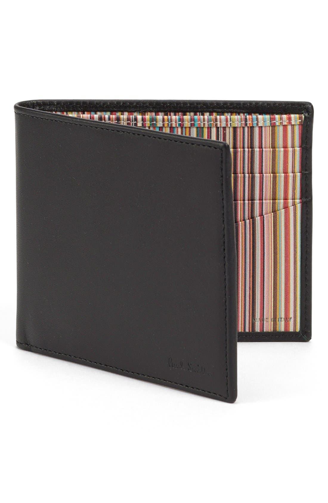 Interior Stripe Leather Billfold,                         Main,                         color, Black
