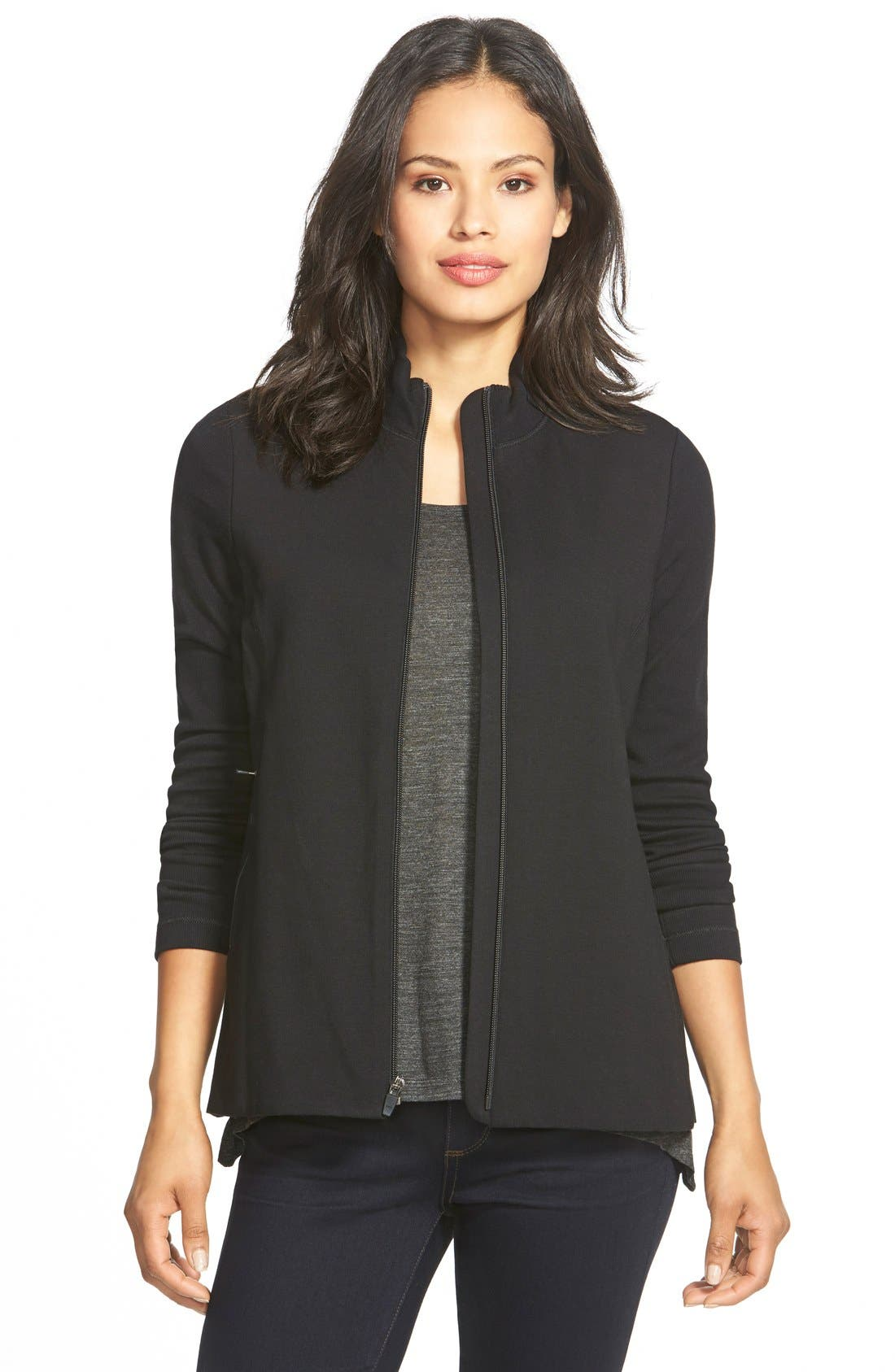 Alternate Image 1 Selected - Eileen Fisher Mixed Organic Cotton Stretch Knit Jacket