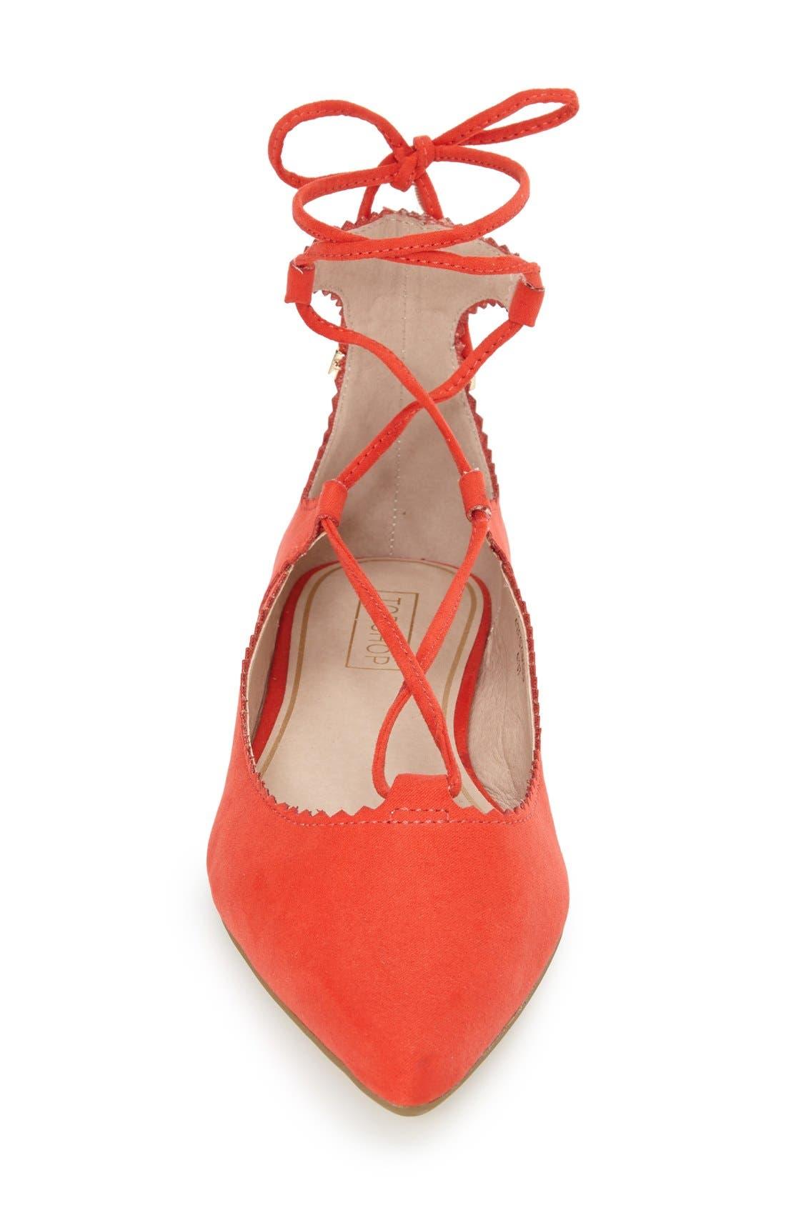 Alternate Image 3  - Topshop 'Finest' Pointy Toe Ghillie Flat (Women)