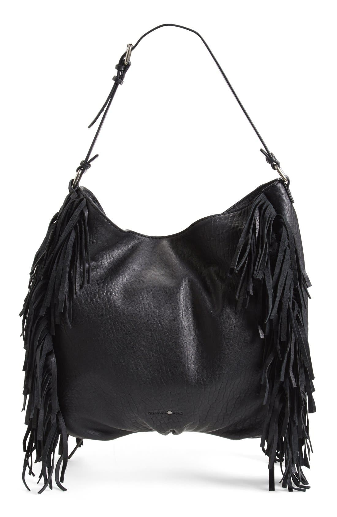 Treasure&Bond Fringe Hobo Bag,                             Main thumbnail 1, color,                             Black