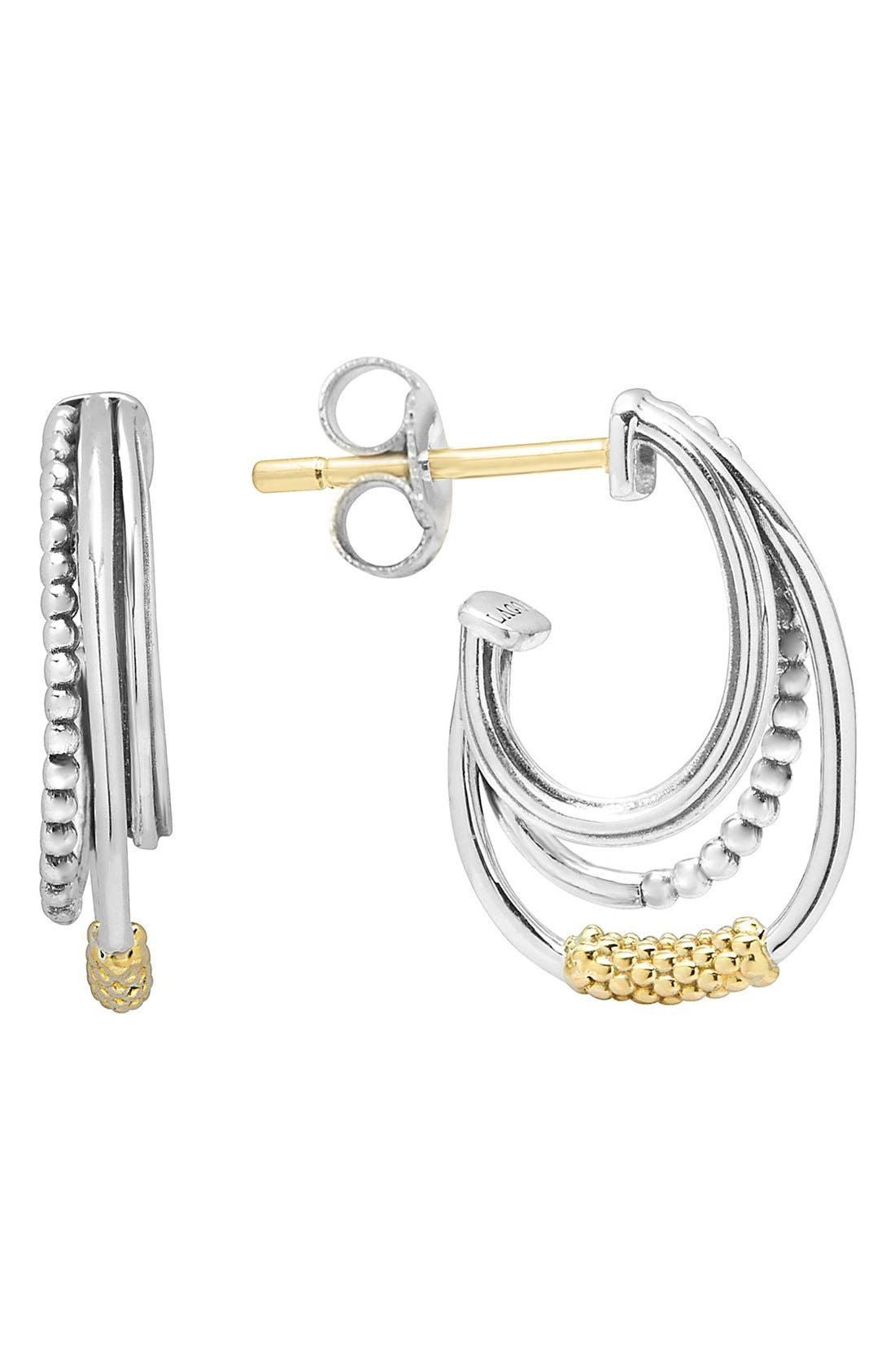 Alternate Image 1 Selected - LAGOS Caviar 'Superfine' Two-Tone Station Hoop Earrings