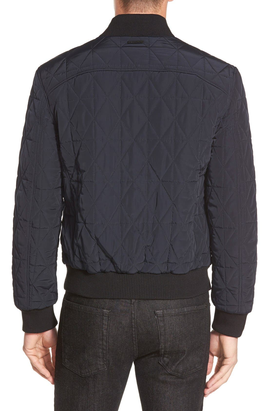 Diamond Quilted Zip Front Jacket,                             Alternate thumbnail 2, color,                             Midnight Blue
