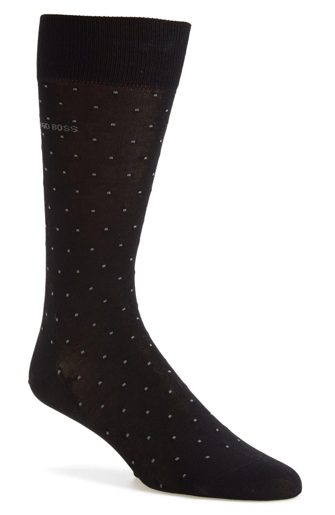 'Frank' Dot Socks,                             Main thumbnail 1, color,                             Black