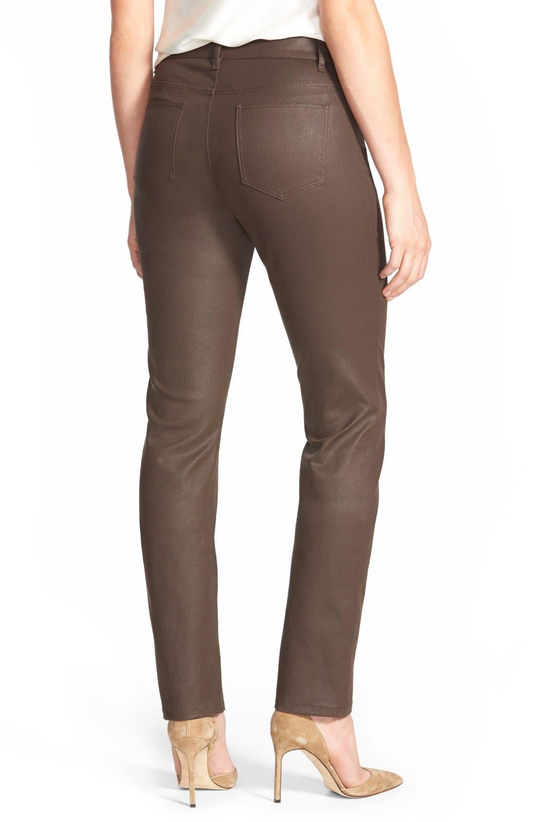 Waxed Denim Slim Leg Jeans,                             Alternate thumbnail 2, color,                             Coffee