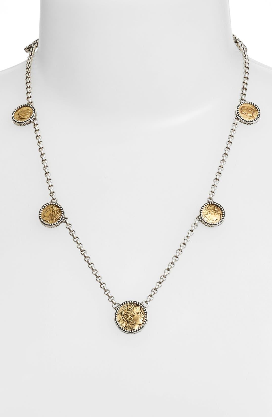 'Goddess' Coin Necklace,                         Main,                         color, Silver/ Bronze