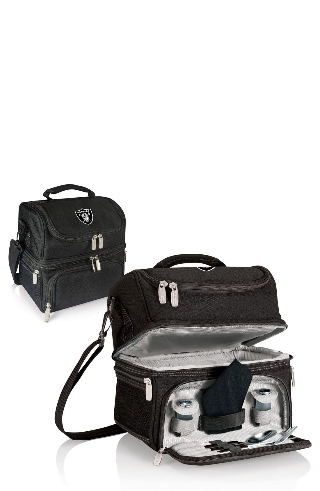 'Pranzo' NFL Insulated Lunch Box,                             Alternate thumbnail 2, color,                             Oakland Raiders/ Black