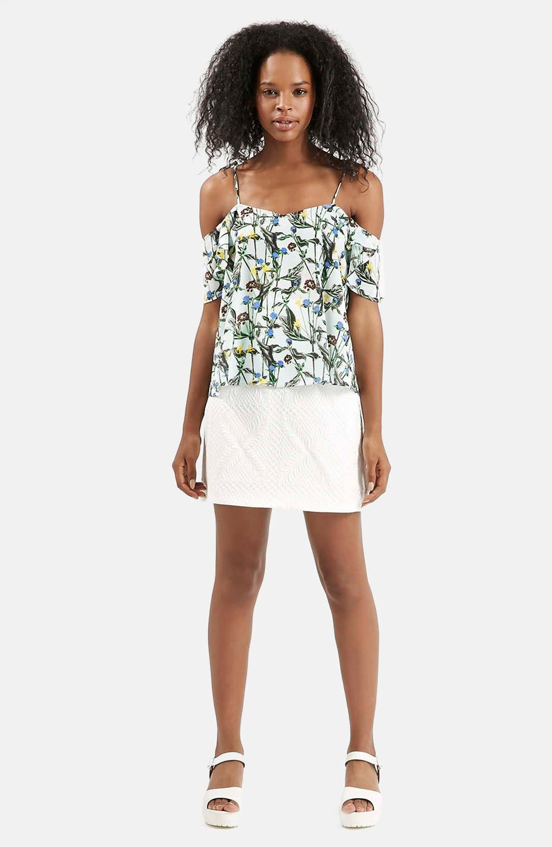 Wild Flower Print Bardot Top,                             Alternate thumbnail 5, color,                             White Multi
