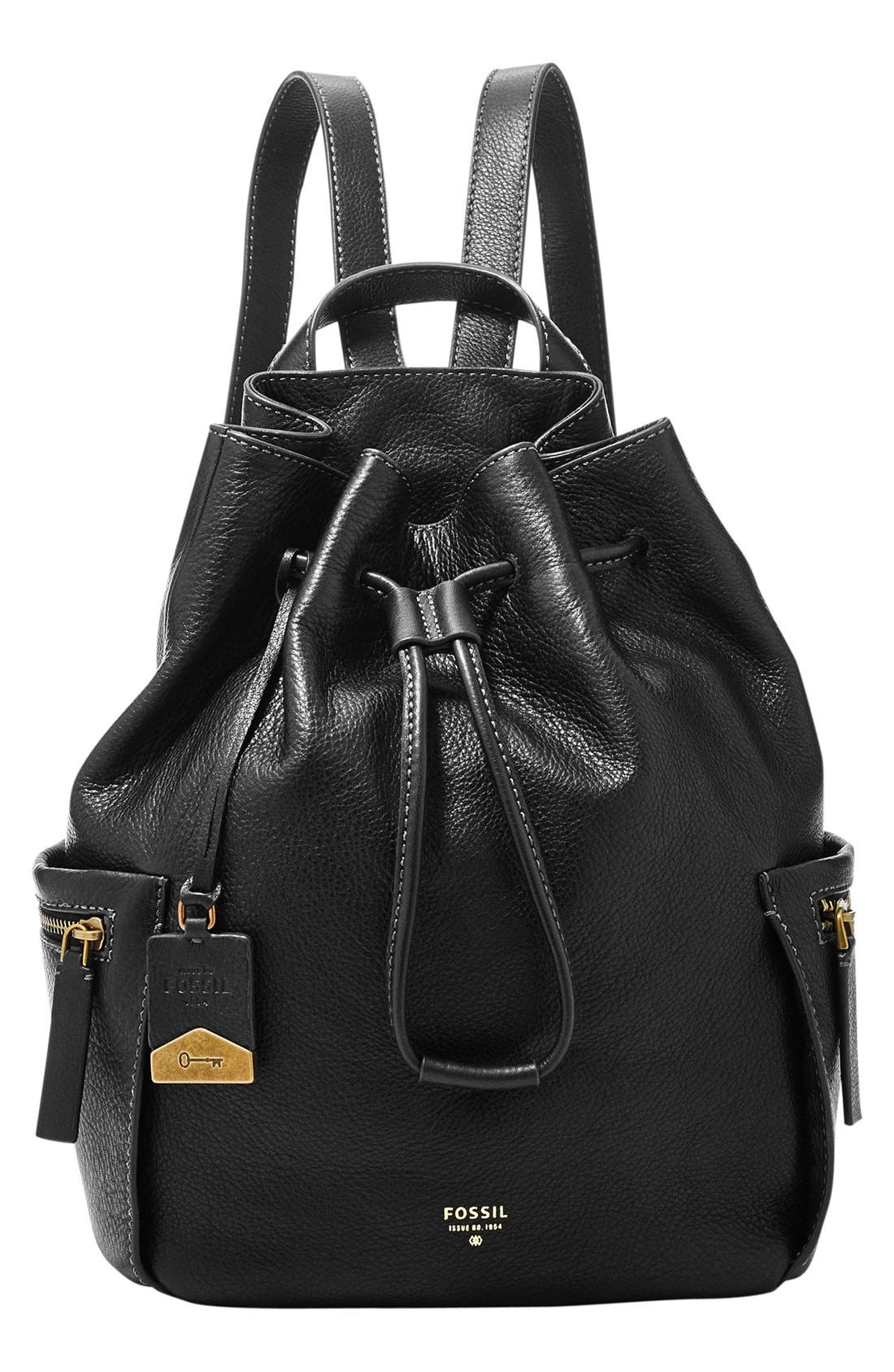 Main Image - Fossil 'Vickery - Large' Drawstring Leather Backpack