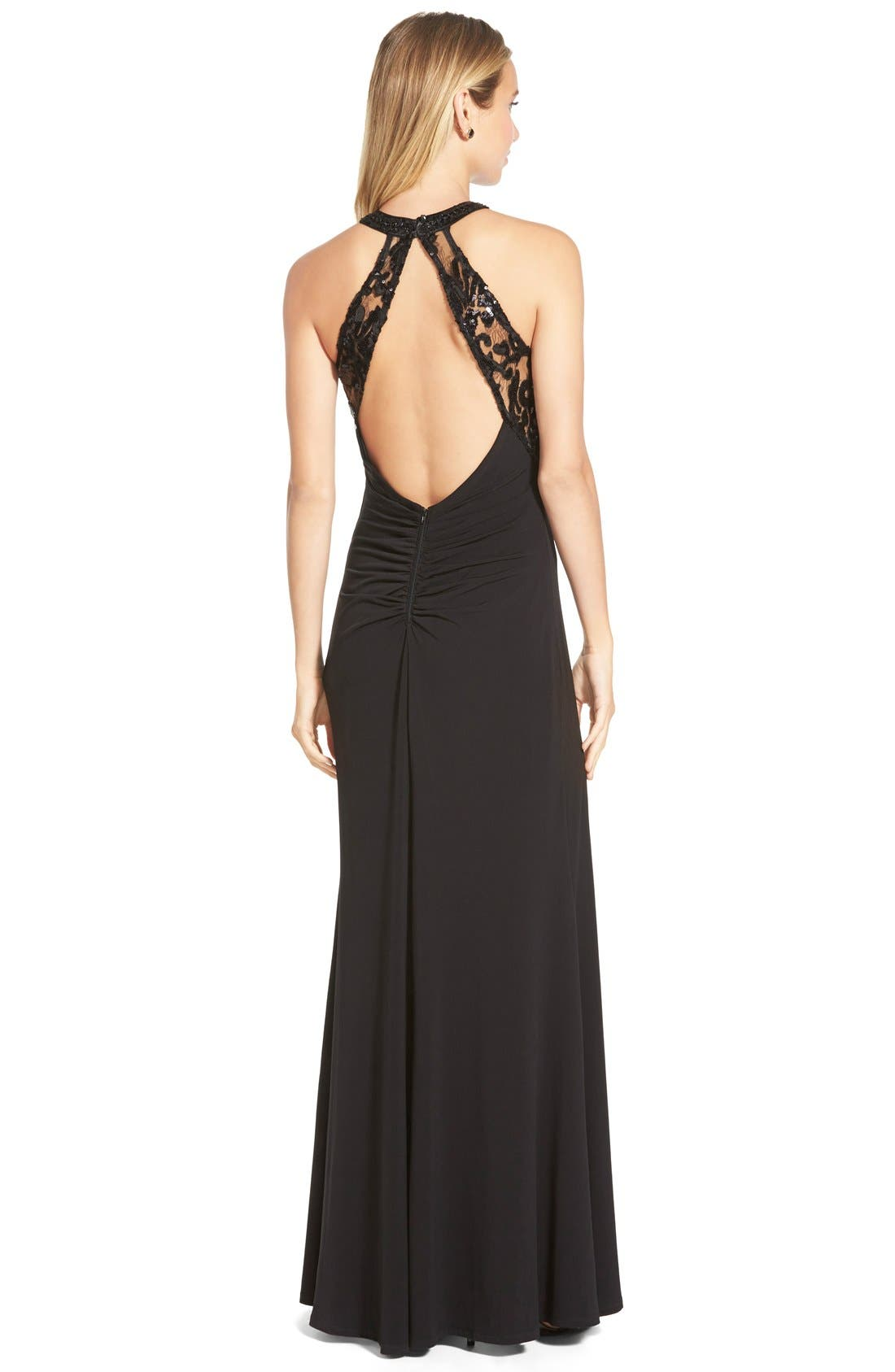 Alternate Image 2  - Sequin Hearts Sequin Lace Halter Gown