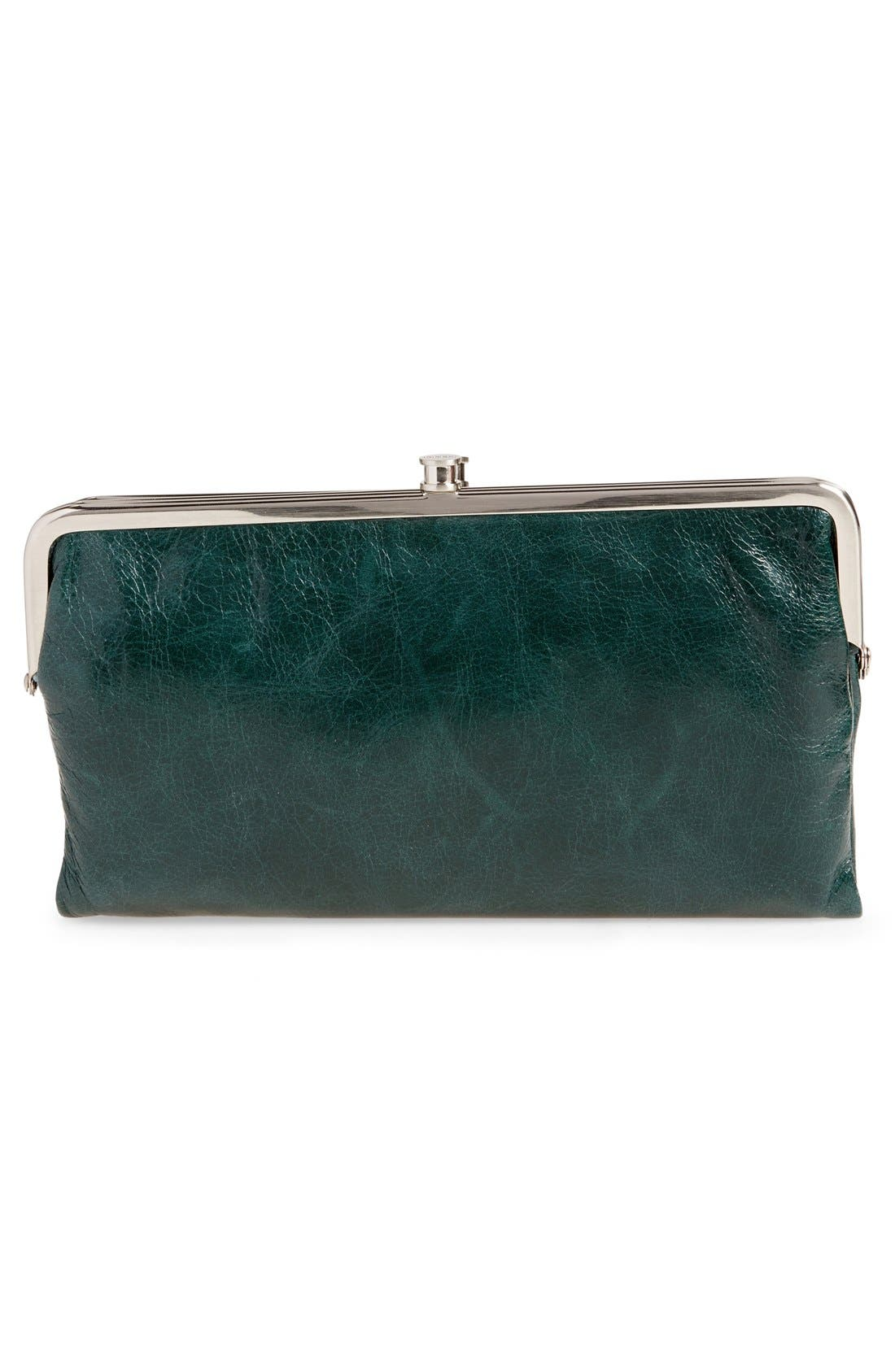 'Lauren' Leather Double Frame Clutch,                             Alternate thumbnail 8, color,                             Willow
