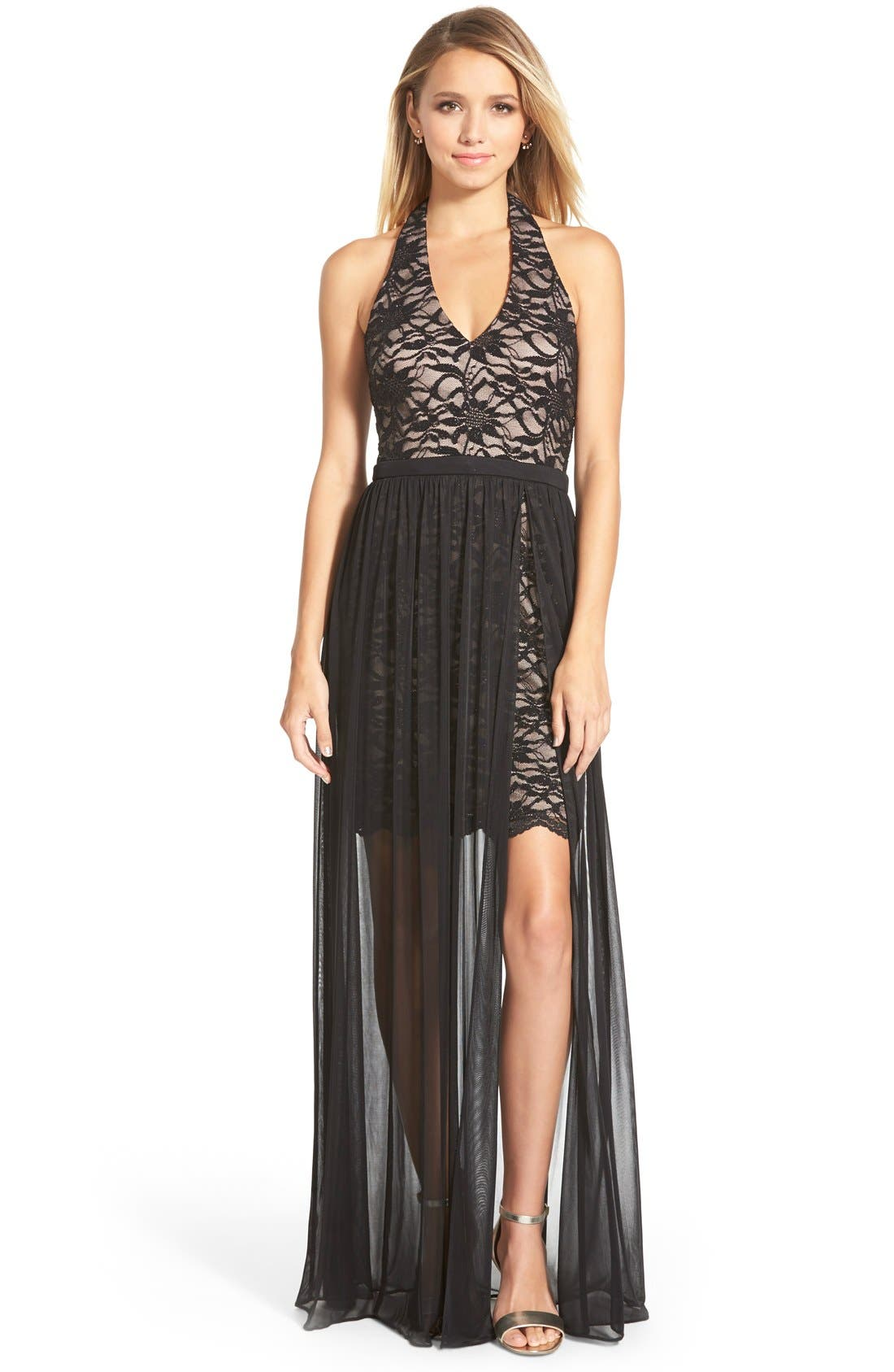 Main Image - Morgan & Co. Glitter Lace Halter Gown