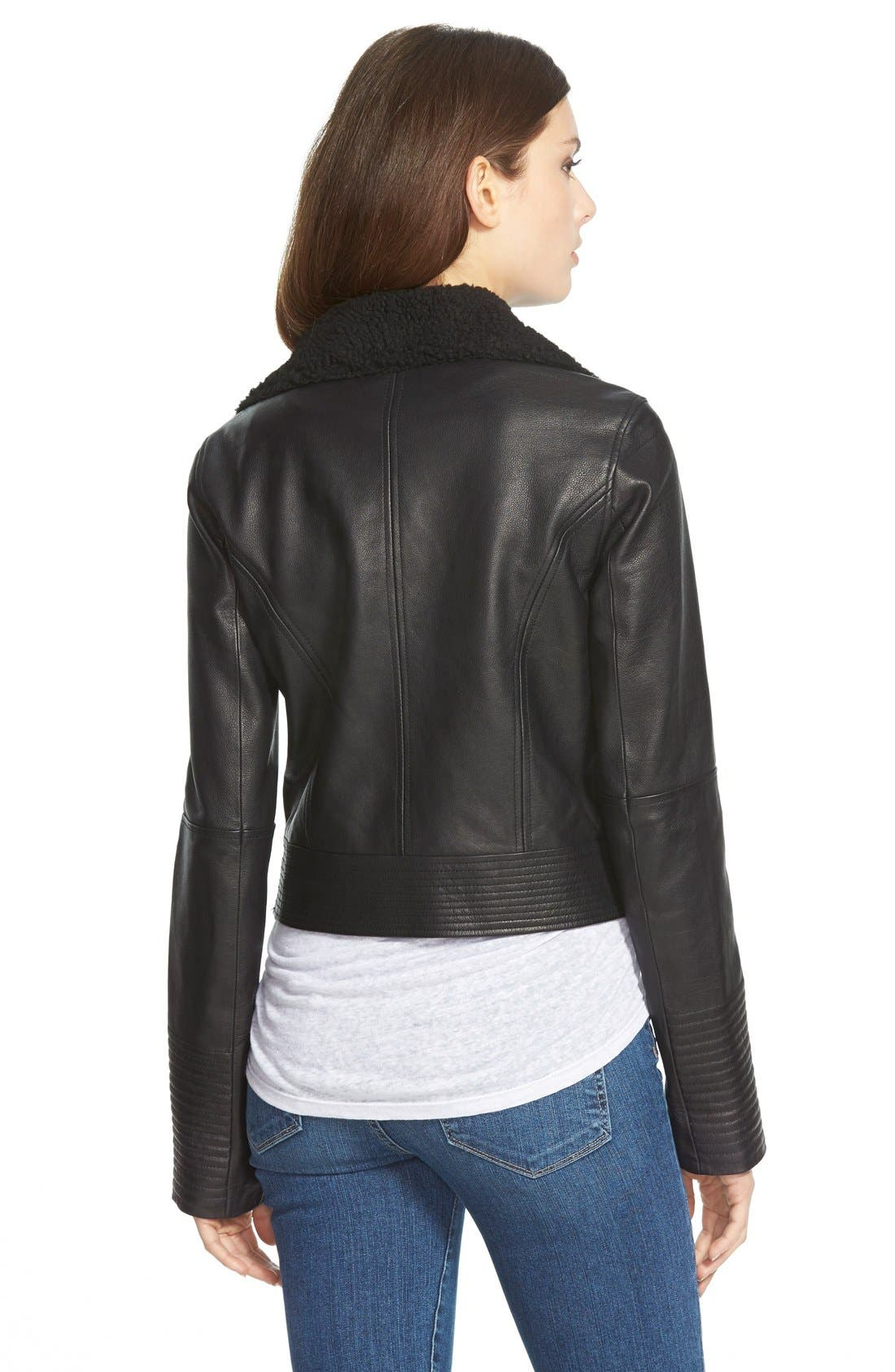 Denim 'Rooney' Leather Jacket with Faux Shearling Collar,                             Alternate thumbnail 2, color,                             Black