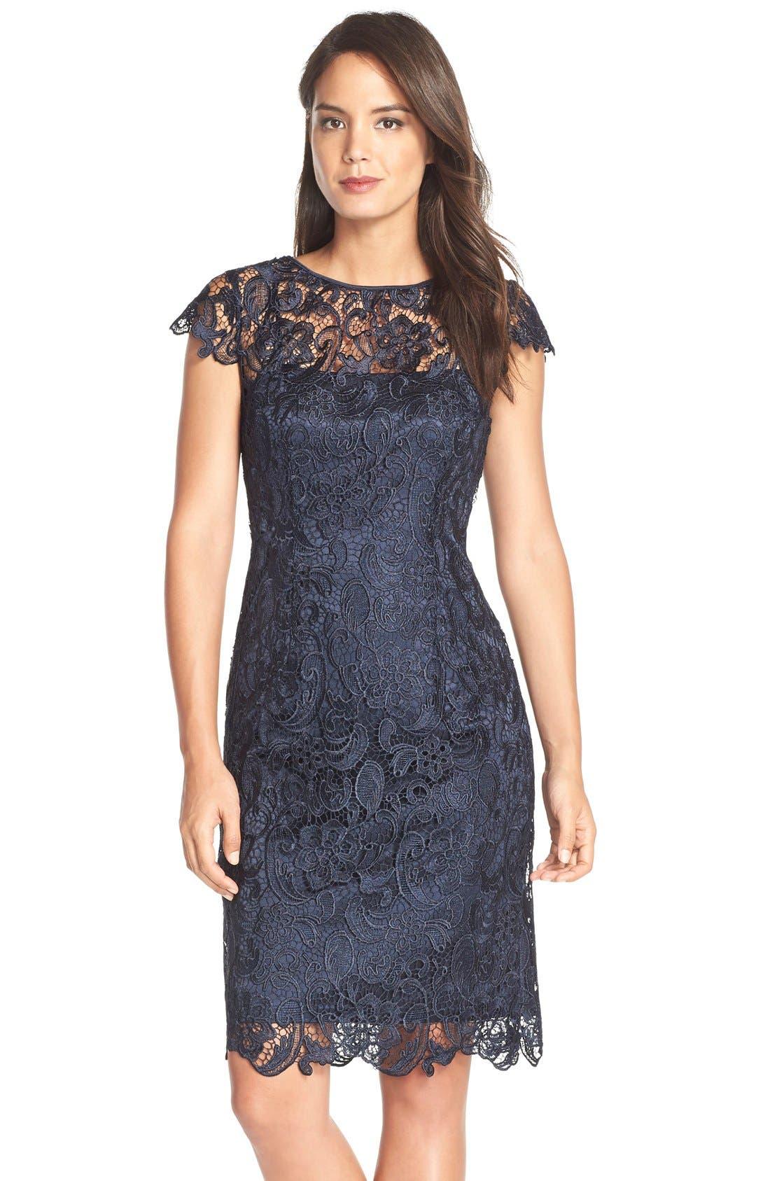 Main Image - Patra Crocheted Venise Lace Sheath Dress