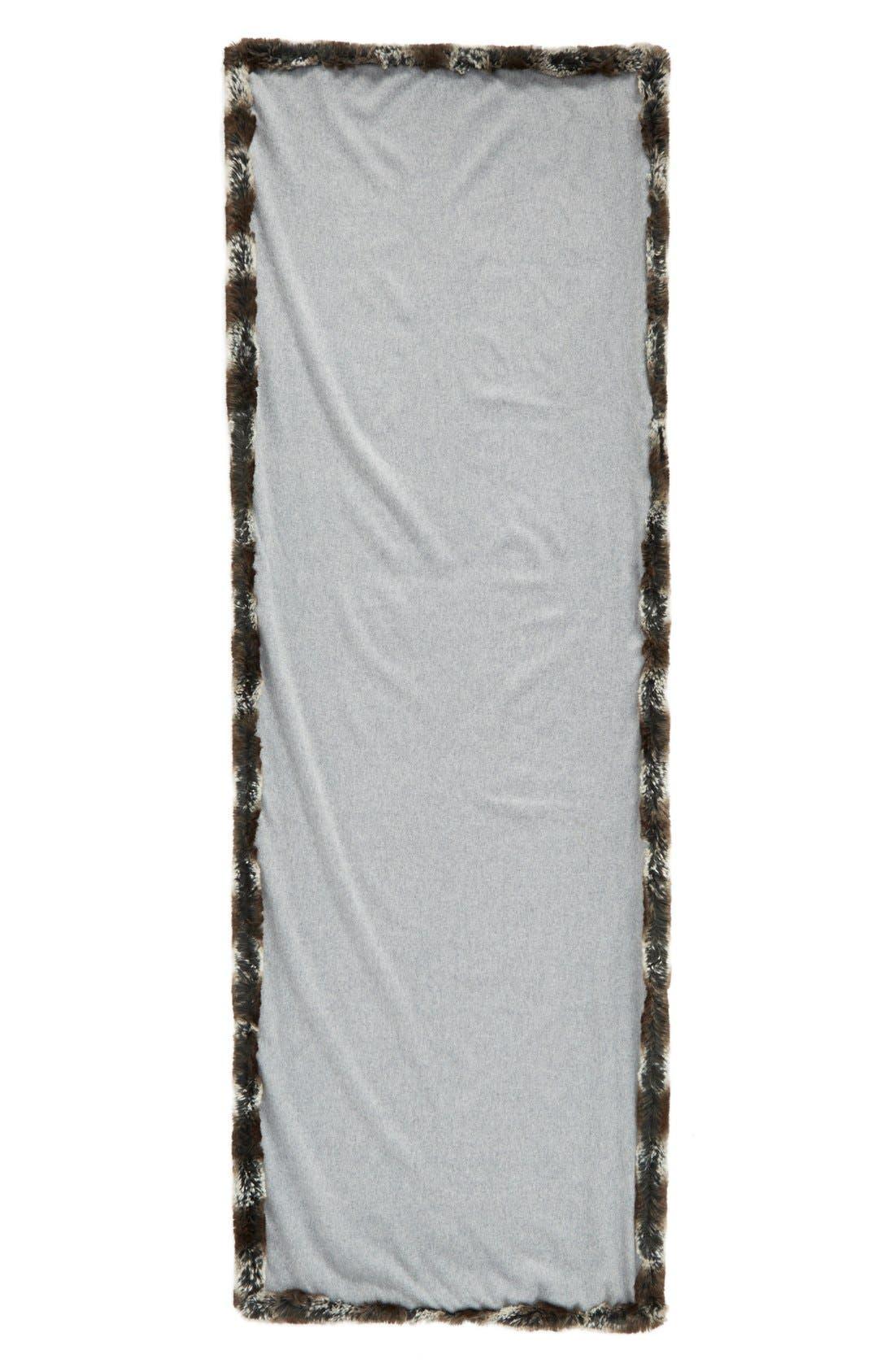 Faux Fur Trim Wrap,                             Alternate thumbnail 2, color,                             Grey