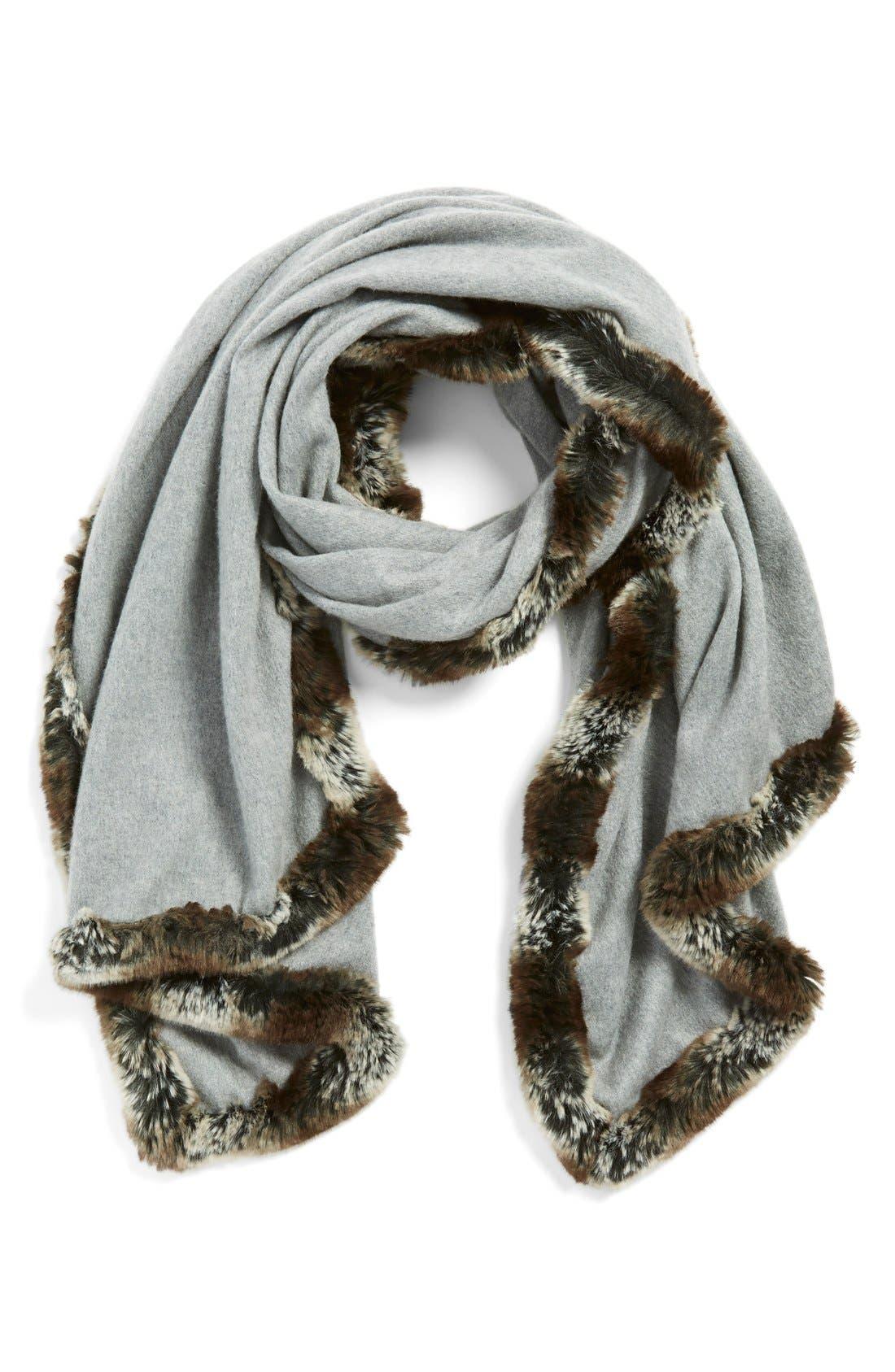 Faux Fur Trim Wrap,                             Main thumbnail 1, color,                             Grey