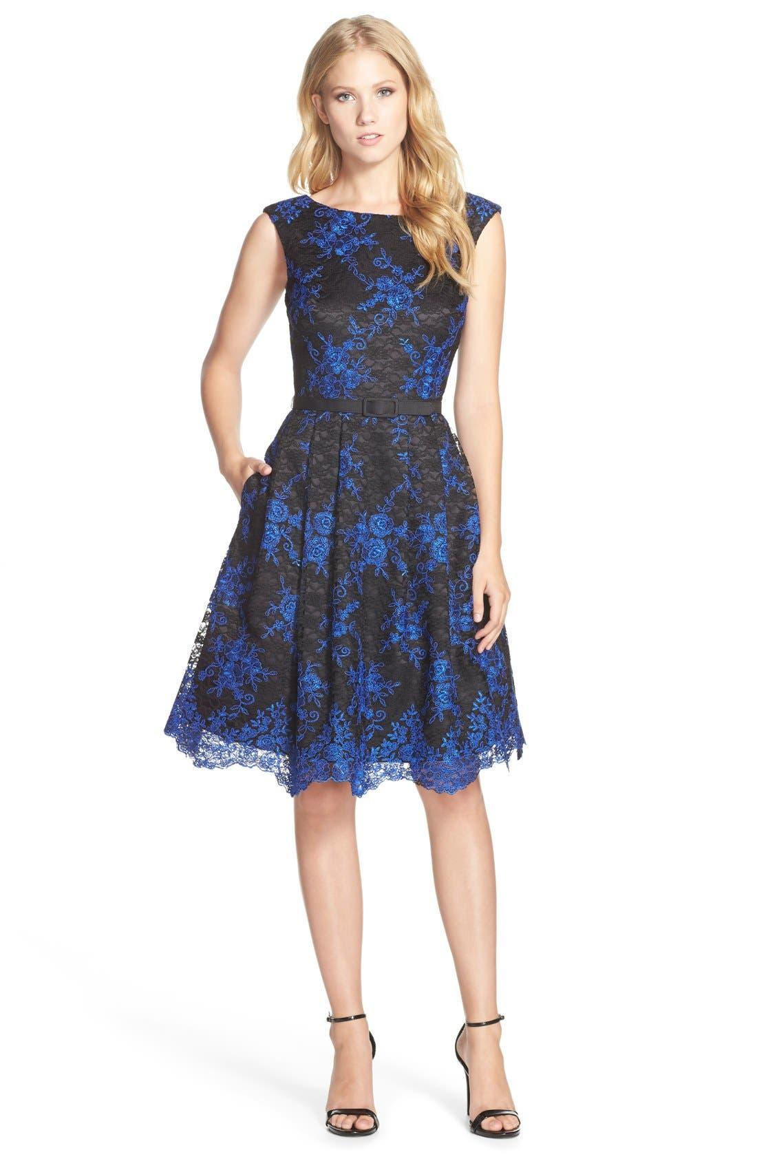 Alternate Image 1 Selected - Eliza J Belted Embroidered Lace Fit & Flare Dress (Regular & Petite)