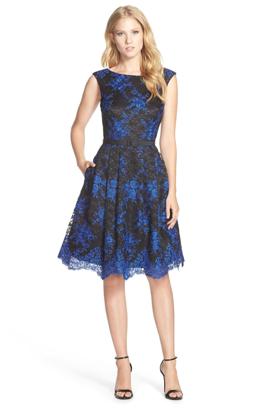 Main Image - Eliza J Belted Embroidered Lace Fit & Flare Dress (Regular & Petite)