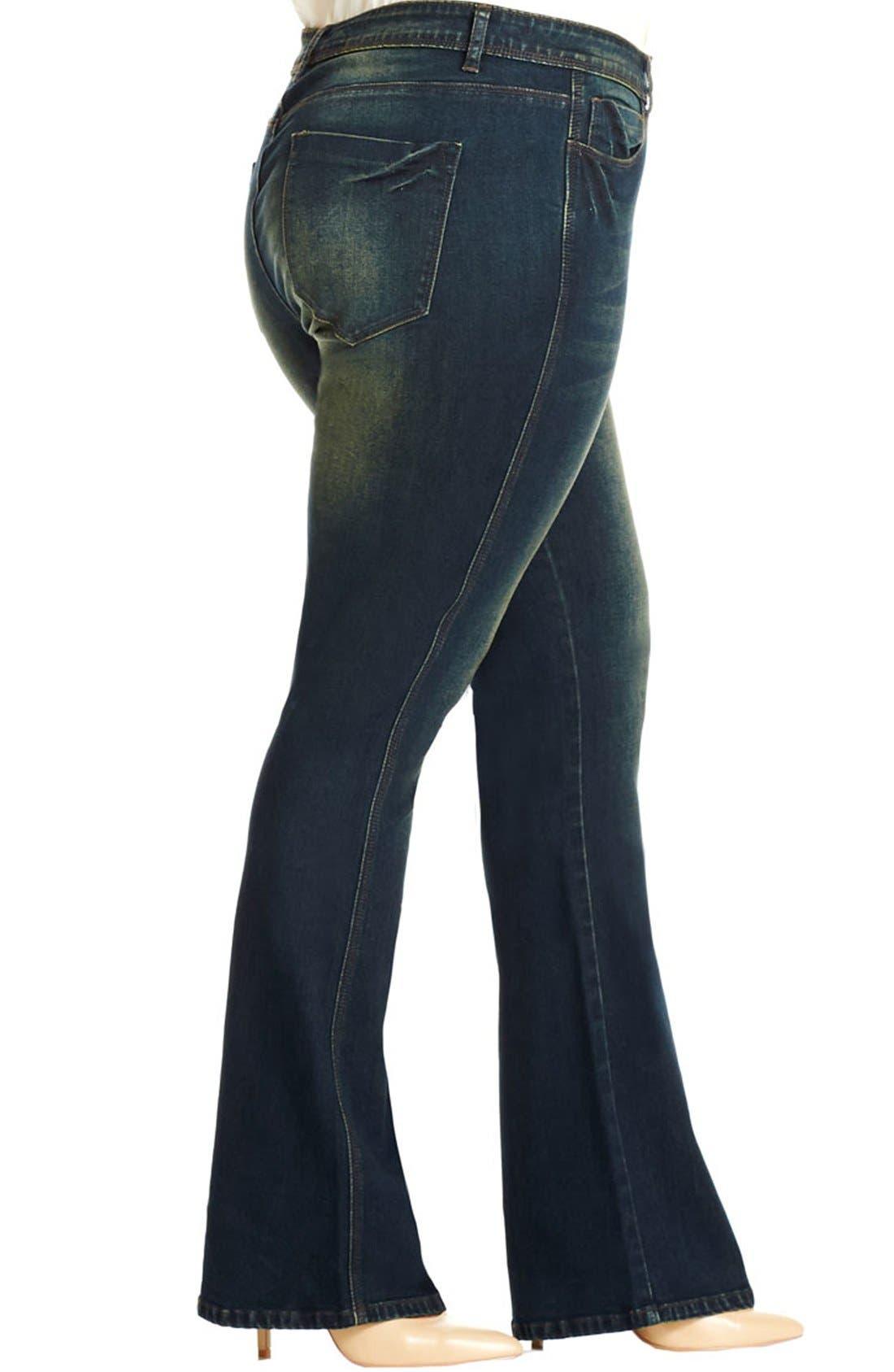 Alternate Image 3  - City Chic 'Dirty Wash' Stretch Bootcut Jeans (Dark Denim) (Plus Size)