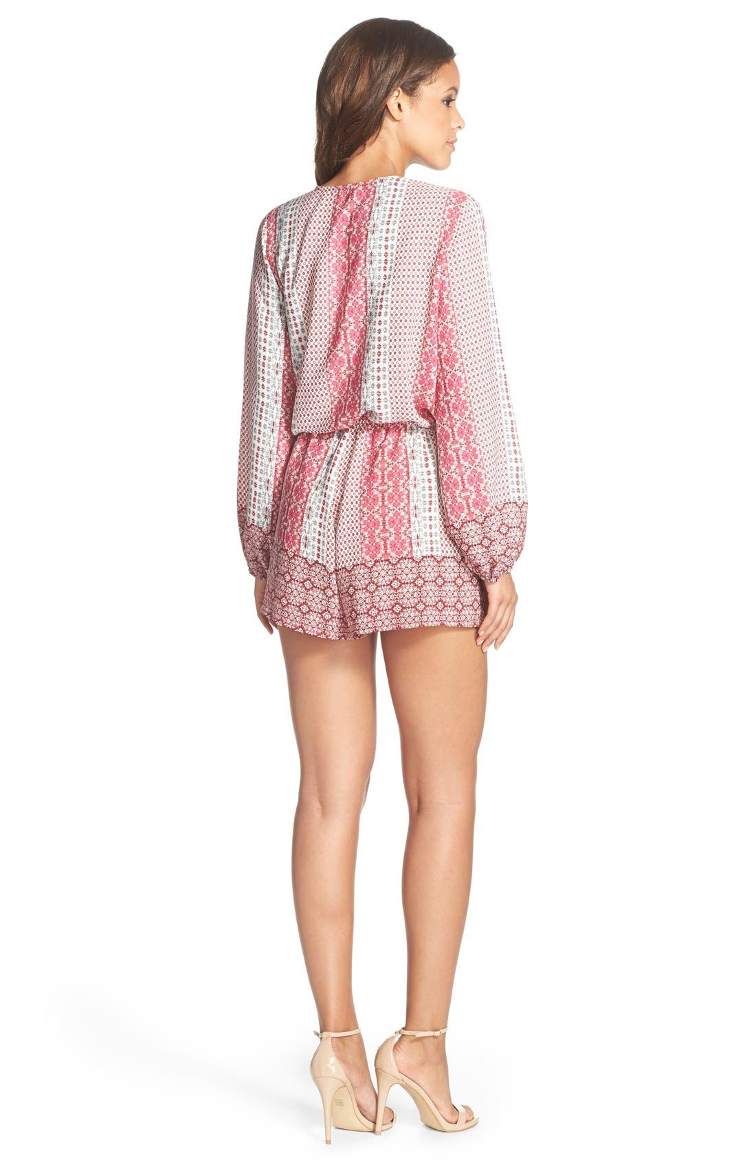 Alternate Image 2  - Fraiche by J Print Long Sleeve Romper