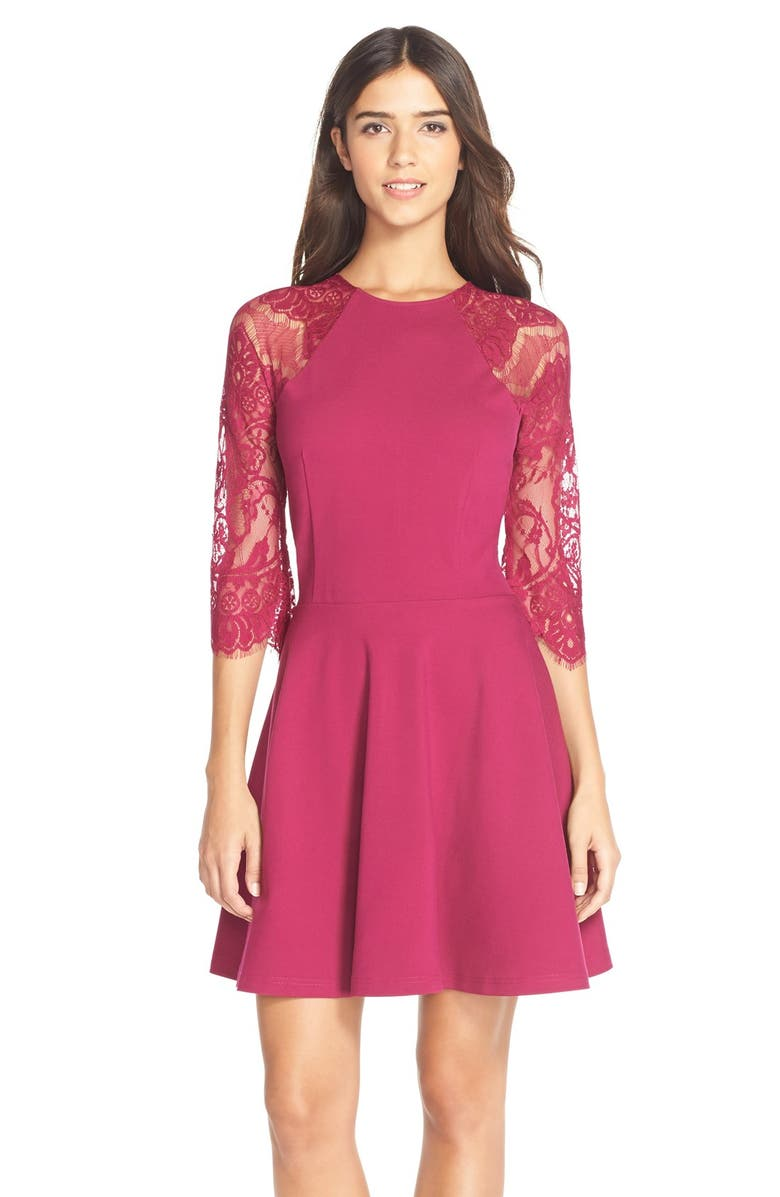 Bb Dakota Yale Lace Panel Fit Amp Flare Dress Nordstrom