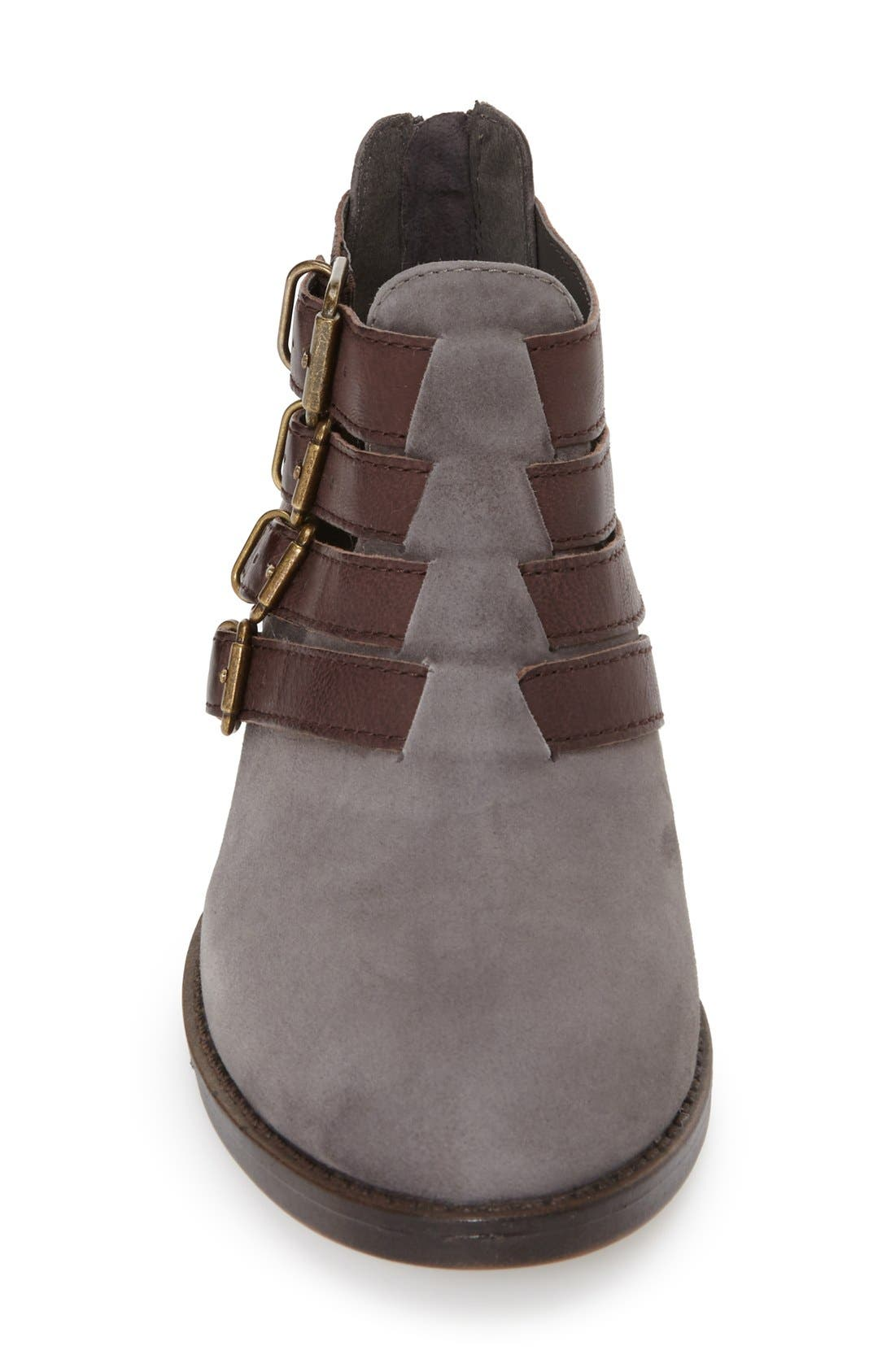 'Ronan' Buckle Leather Bootie,                             Alternate thumbnail 4, color,                             Grey Suede/ Chestnut