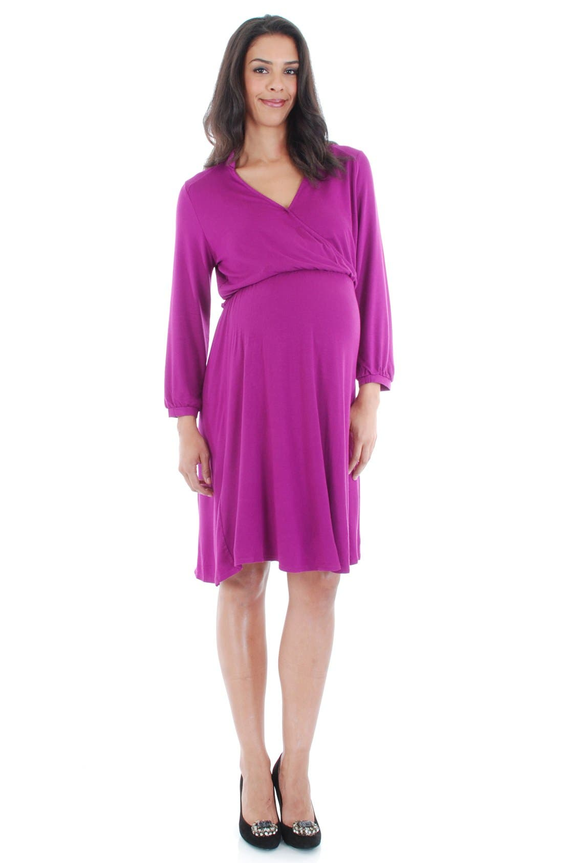 Everly Grey 'Sicily' Maternity/Nursing Dress,                         Main,                         color, Orchid