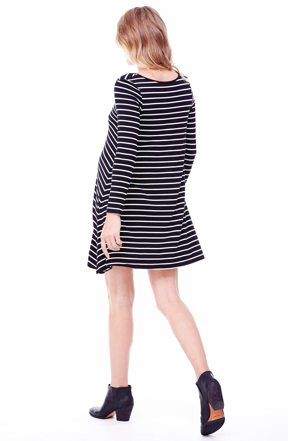 Alternate Image 2  - Ingrid & Isabel® Striped Maternity Trapeze Dress