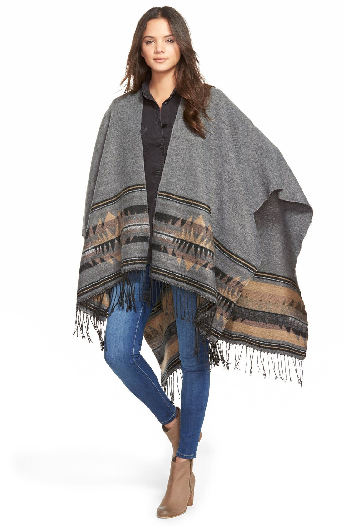 'Wanderlust' Blanket Poncho,                             Main thumbnail 1, color,                             Black/ Grey