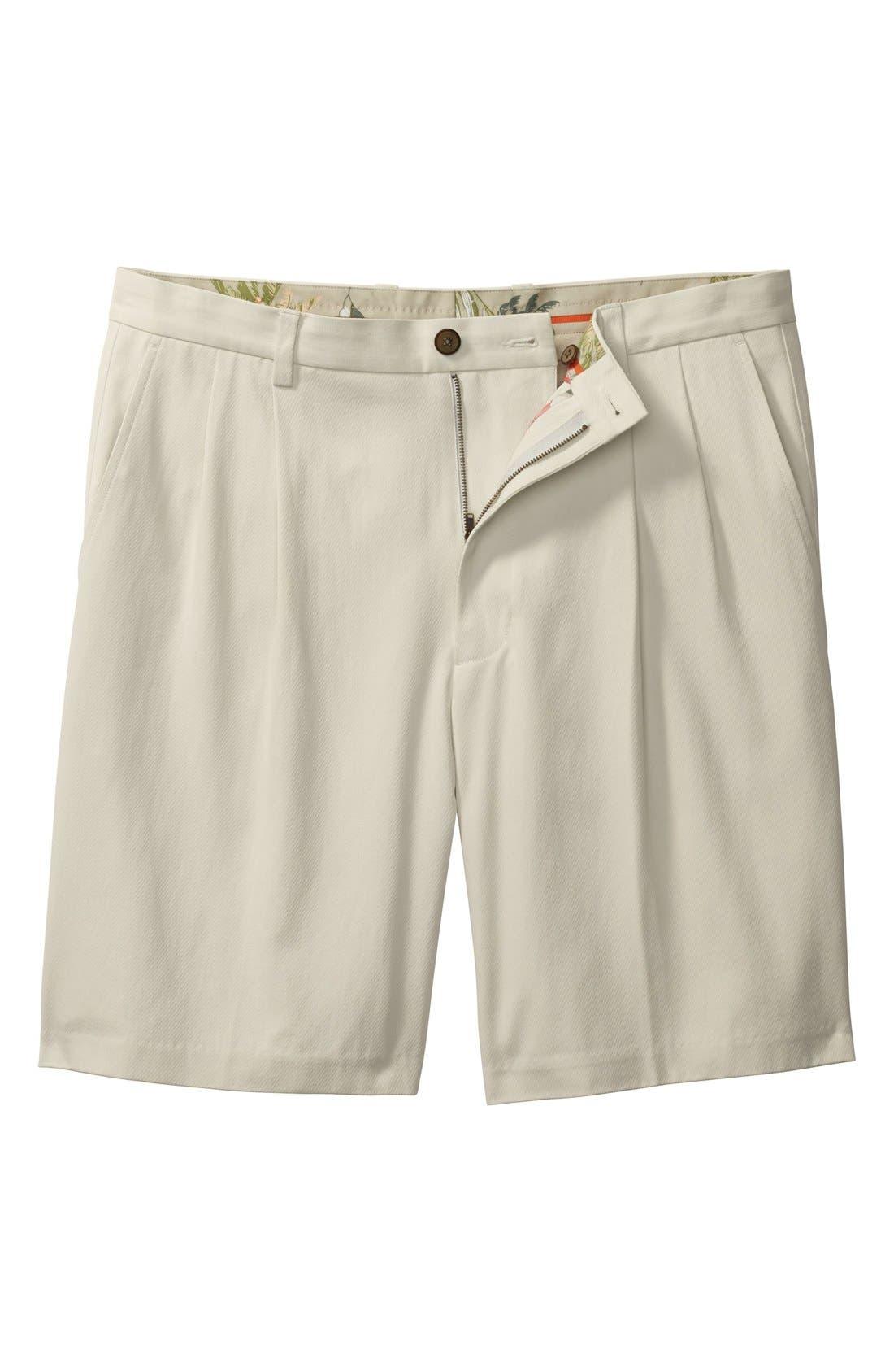 St. Thomas Pleated Shorts,                             Alternate thumbnail 3, color,                             Abbey Stone